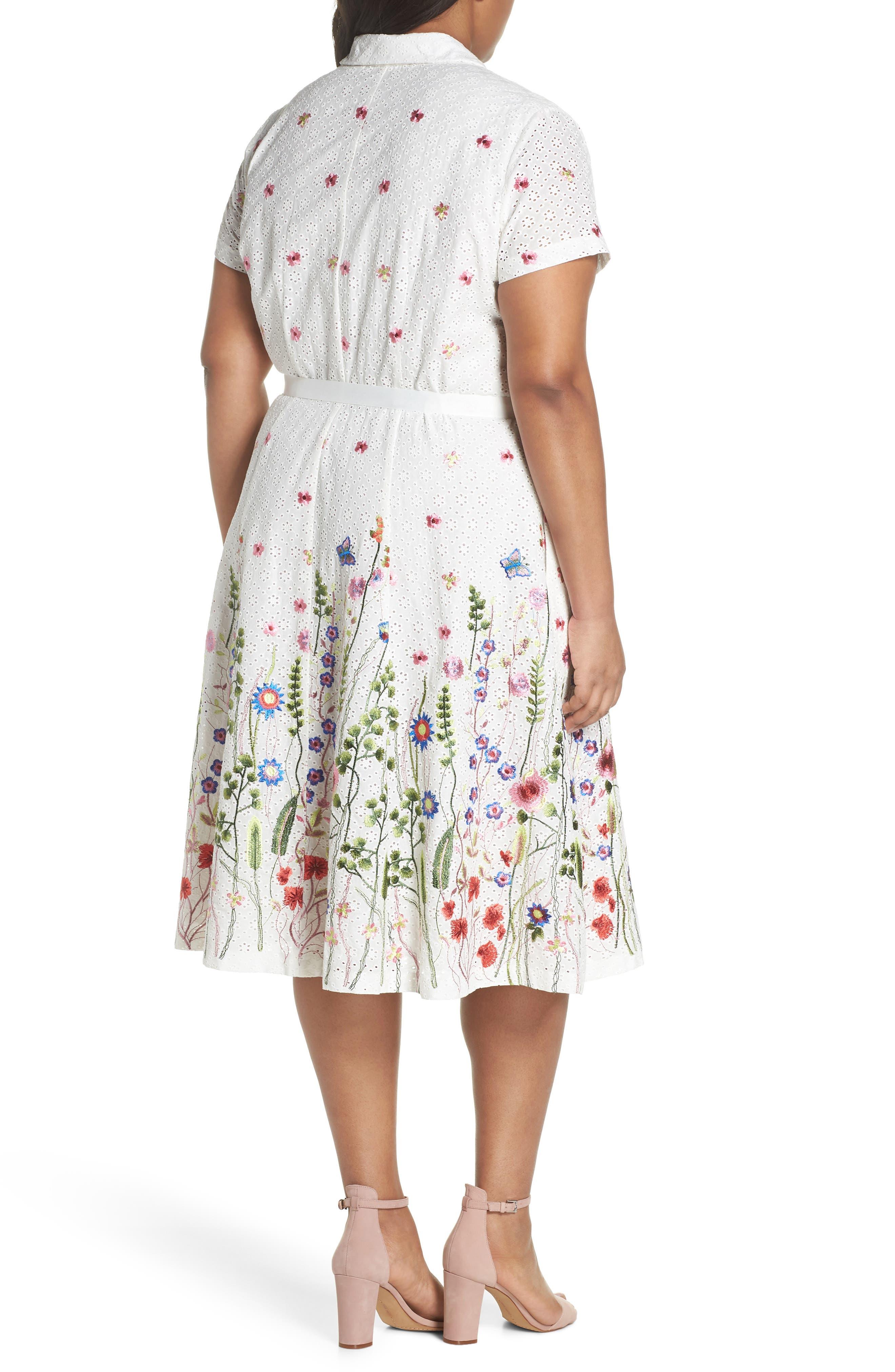 Floral Embroidered Eyelet Shirtdress,                             Alternate thumbnail 2, color,                             White/ Royal/ Green