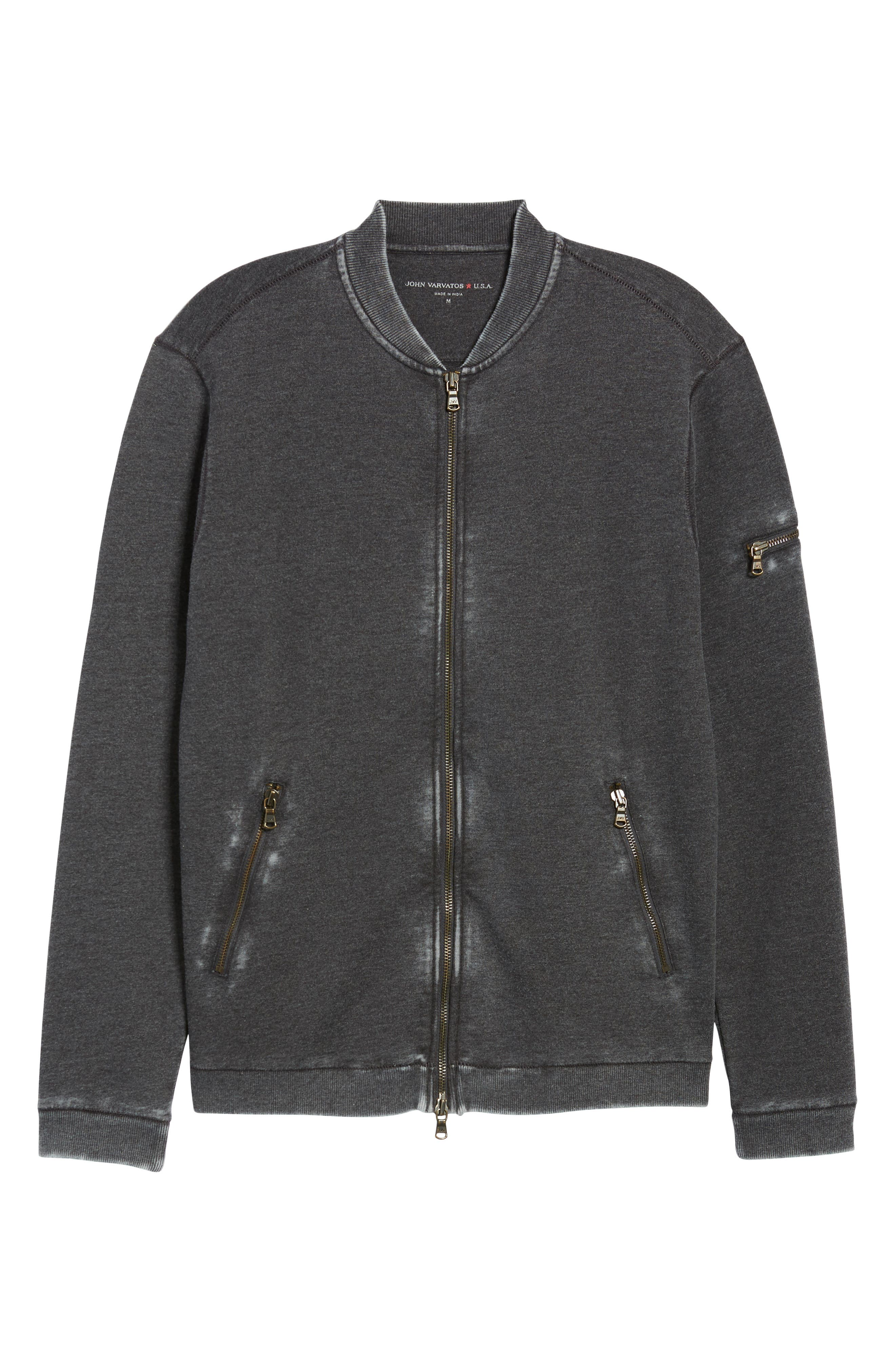 Burnout French Terry Zip Sweater,                             Alternate thumbnail 6, color,                             Metal Grey