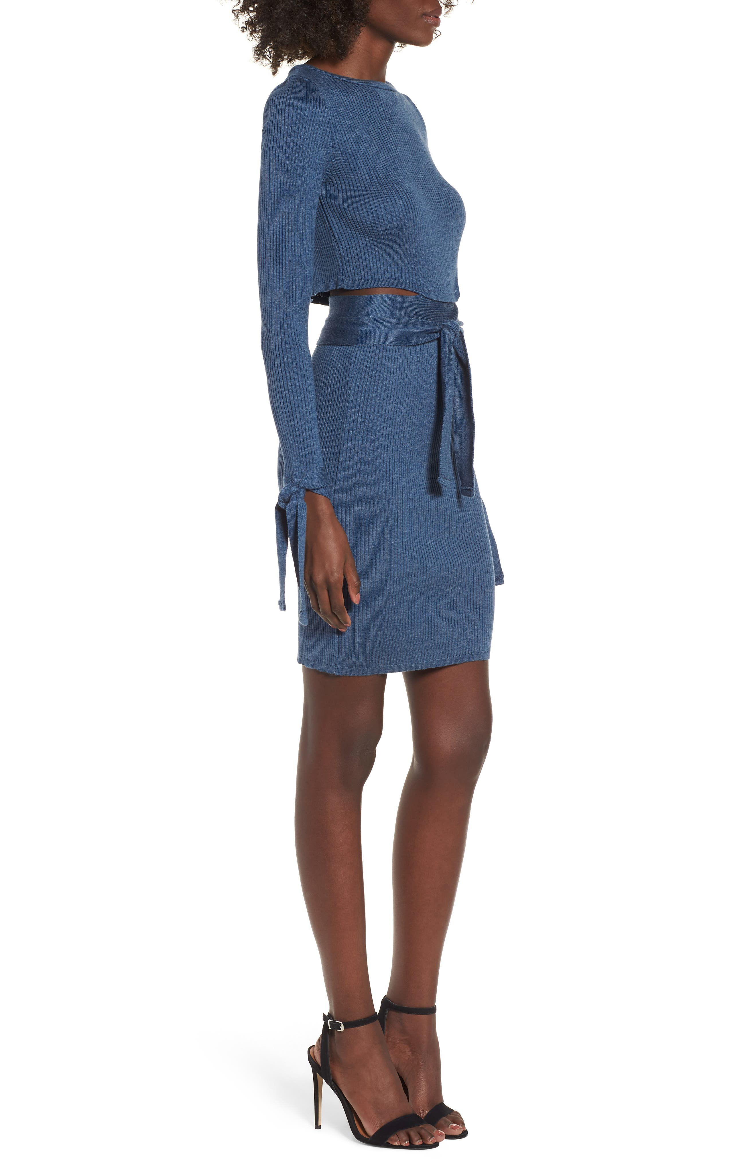 Cutout Body-Con Dress,                             Alternate thumbnail 4, color,                             Blue