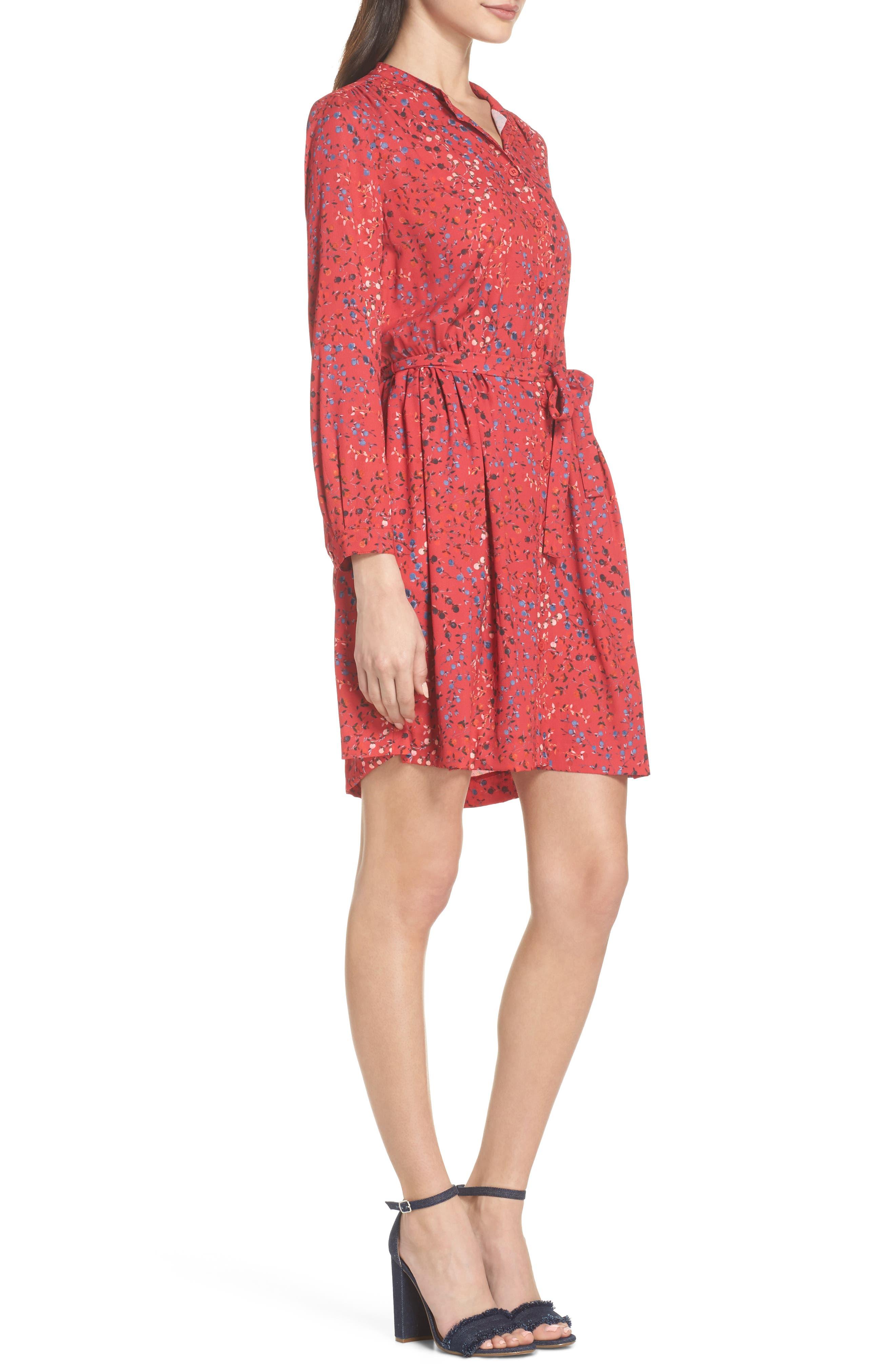 Frances Drape Shirtdress,                             Alternate thumbnail 3, color,                             Watermelon