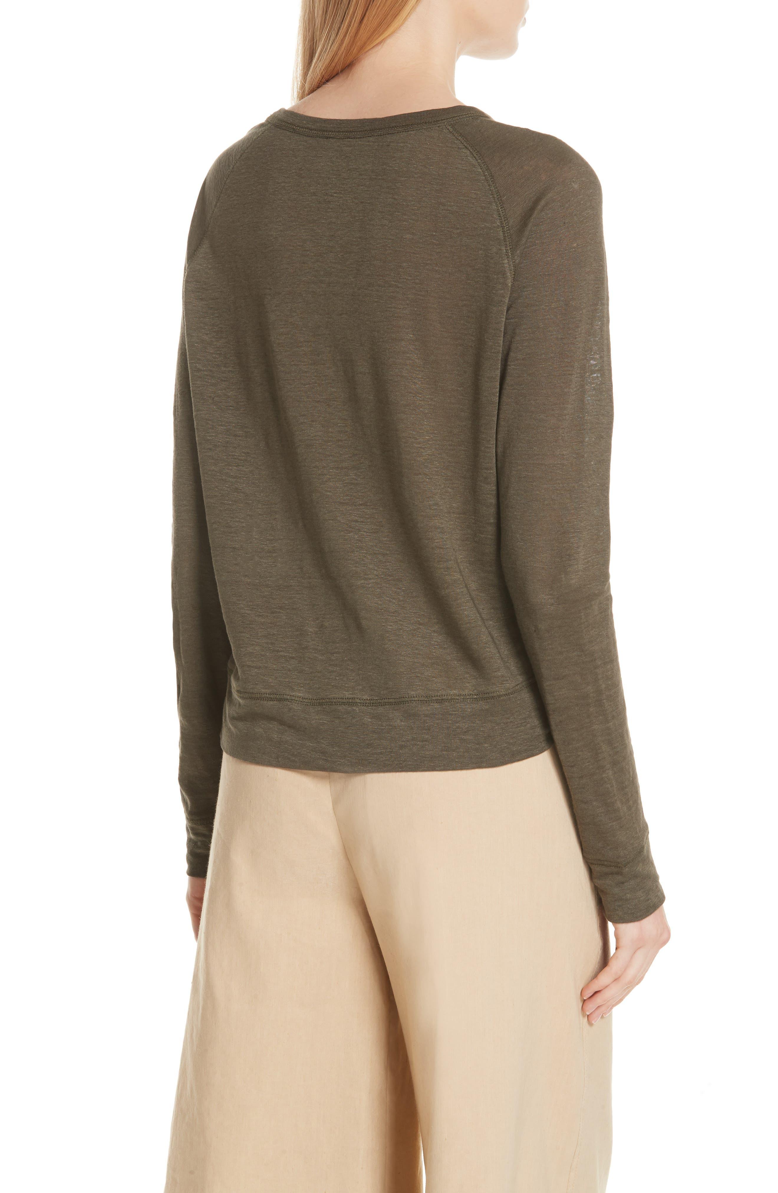 Linen Pullover,                             Alternate thumbnail 2, color,                             Bayleaf