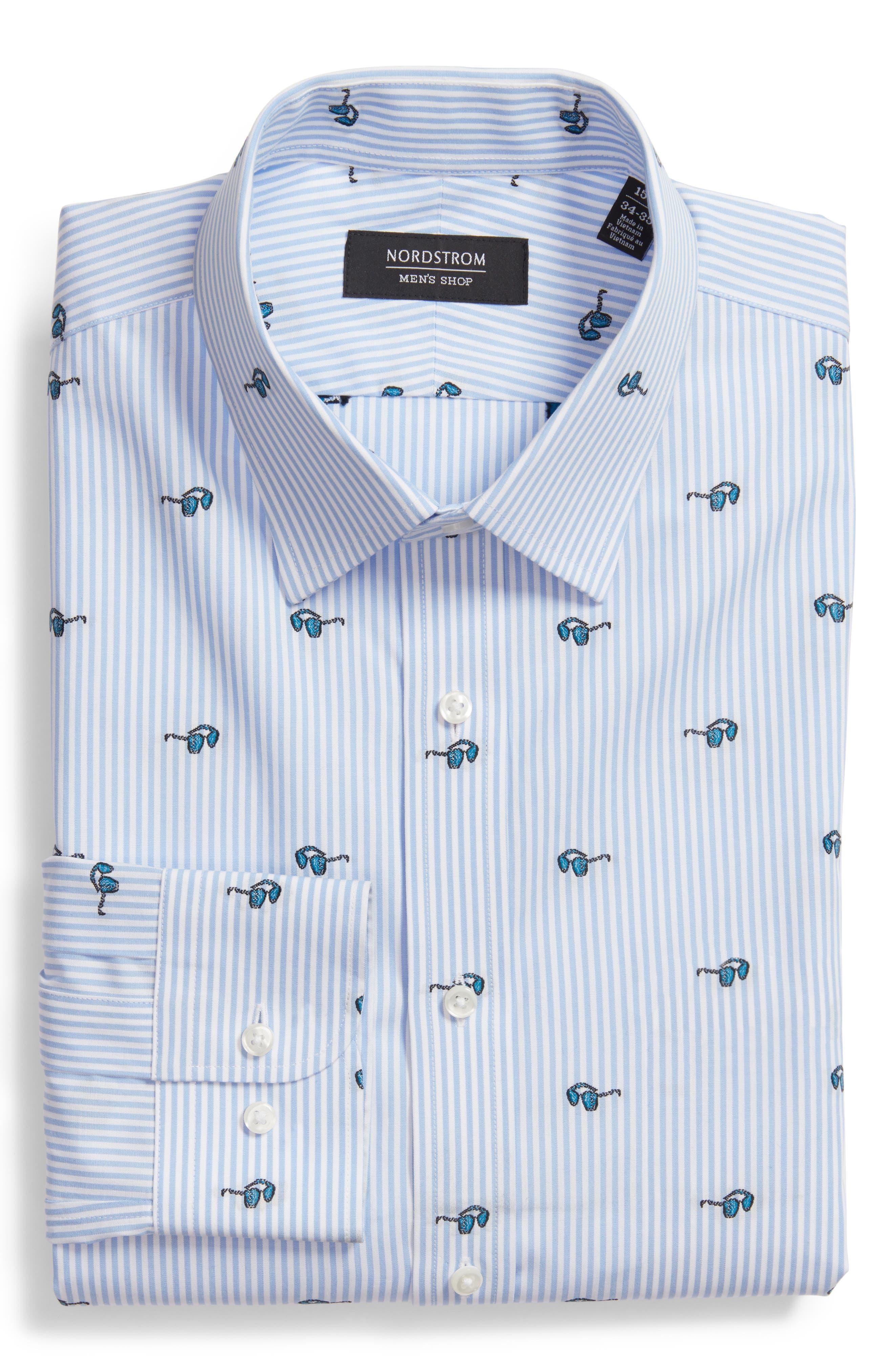 Main Image - Nordstrom Men's Shop Trim Fit Sunglasses Print Dress Shirt