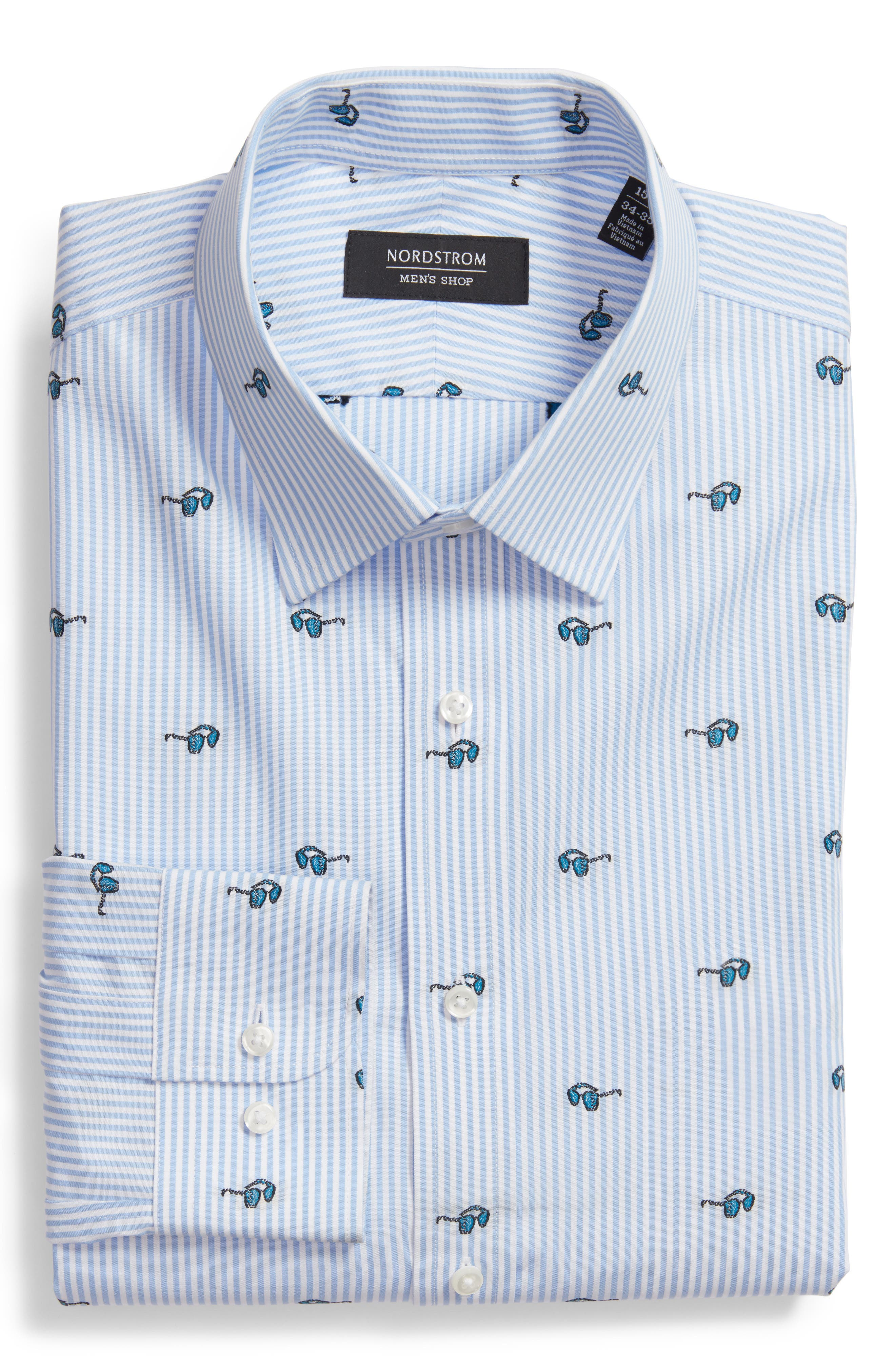 Nordstrom Men's Shop Trim Fit Sunglasses Print Dress Shirt