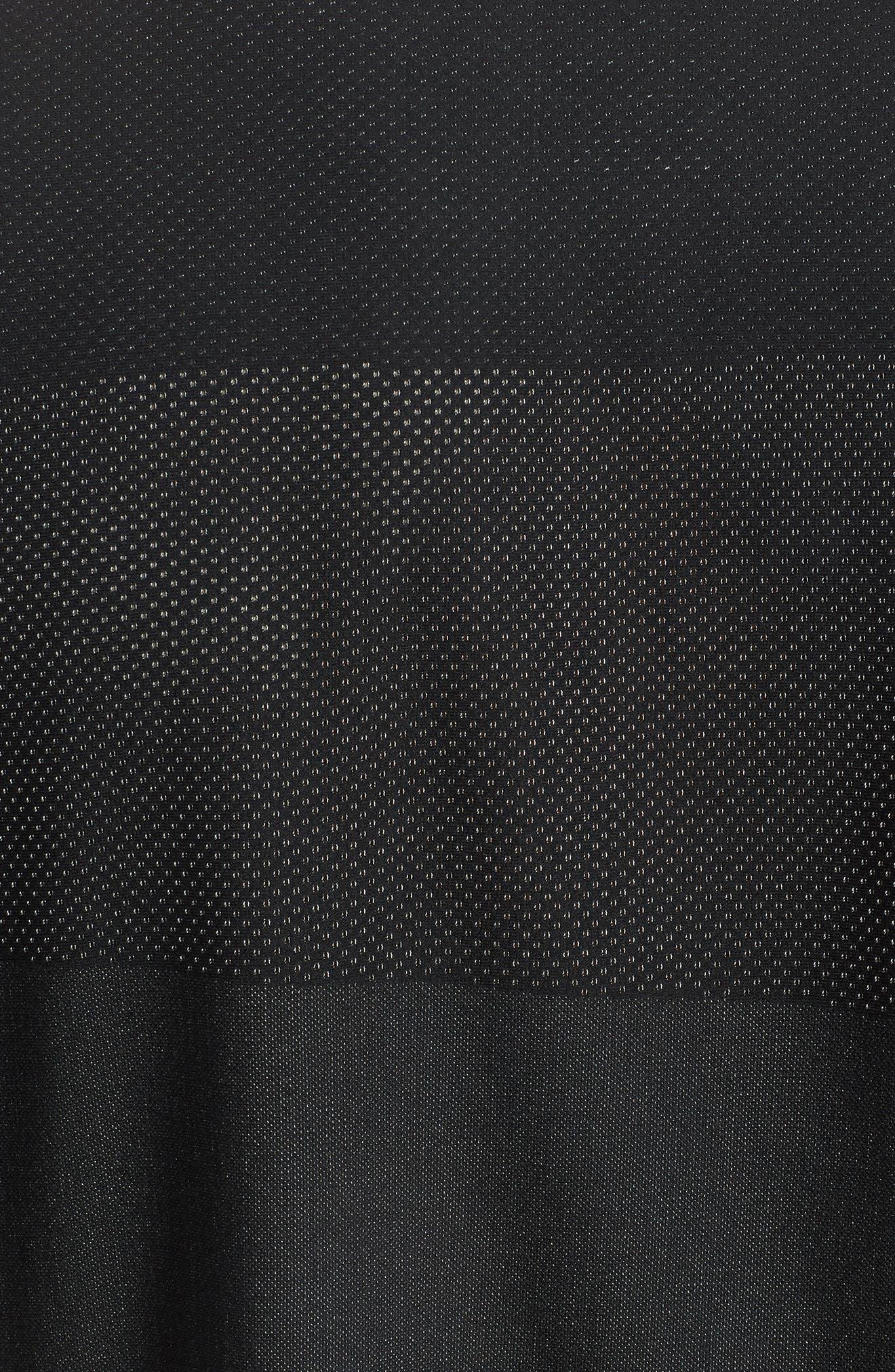Crewneck Mesh T-Shirt,                             Alternate thumbnail 5, color,                             Black/ White/ Mtlc Hematite