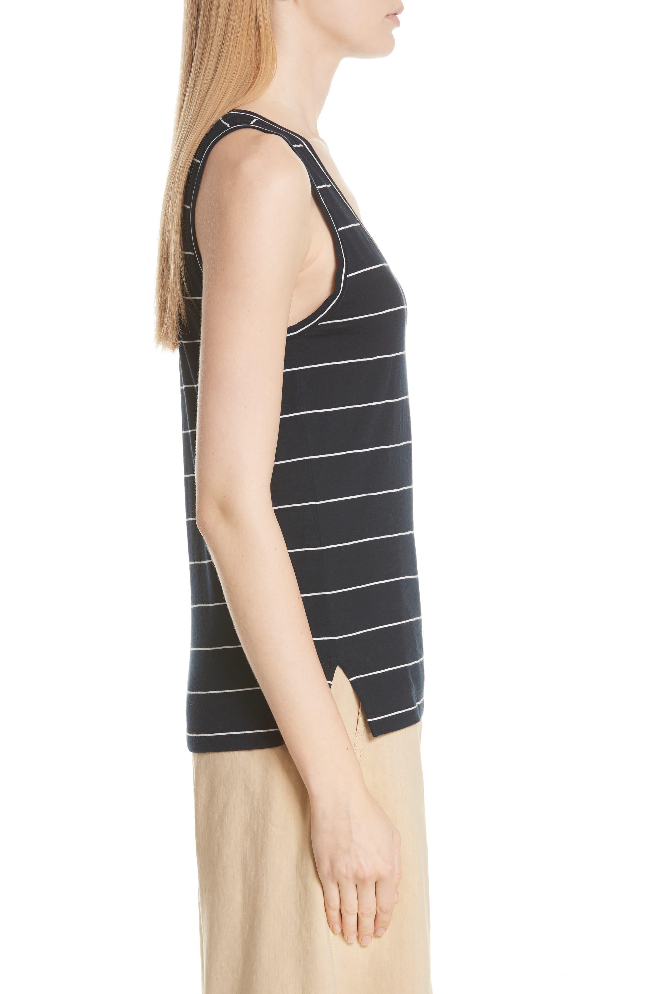 Skinny Stripe Pima Cotton Tank,                             Alternate thumbnail 3, color,                             Coastal/ Vanilla