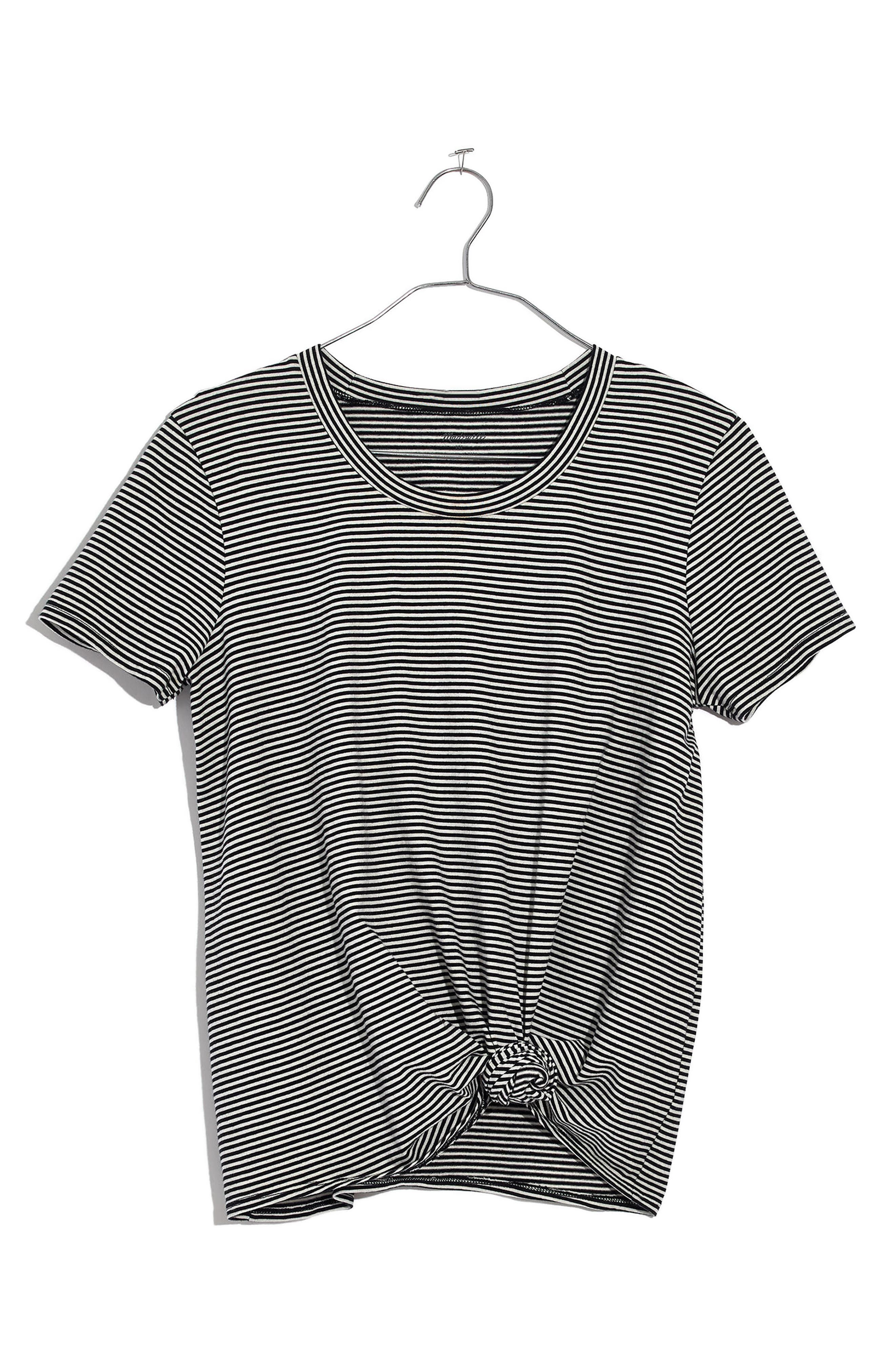 Stripe Knot Front Tee,                             Main thumbnail 1, color,                             True Black