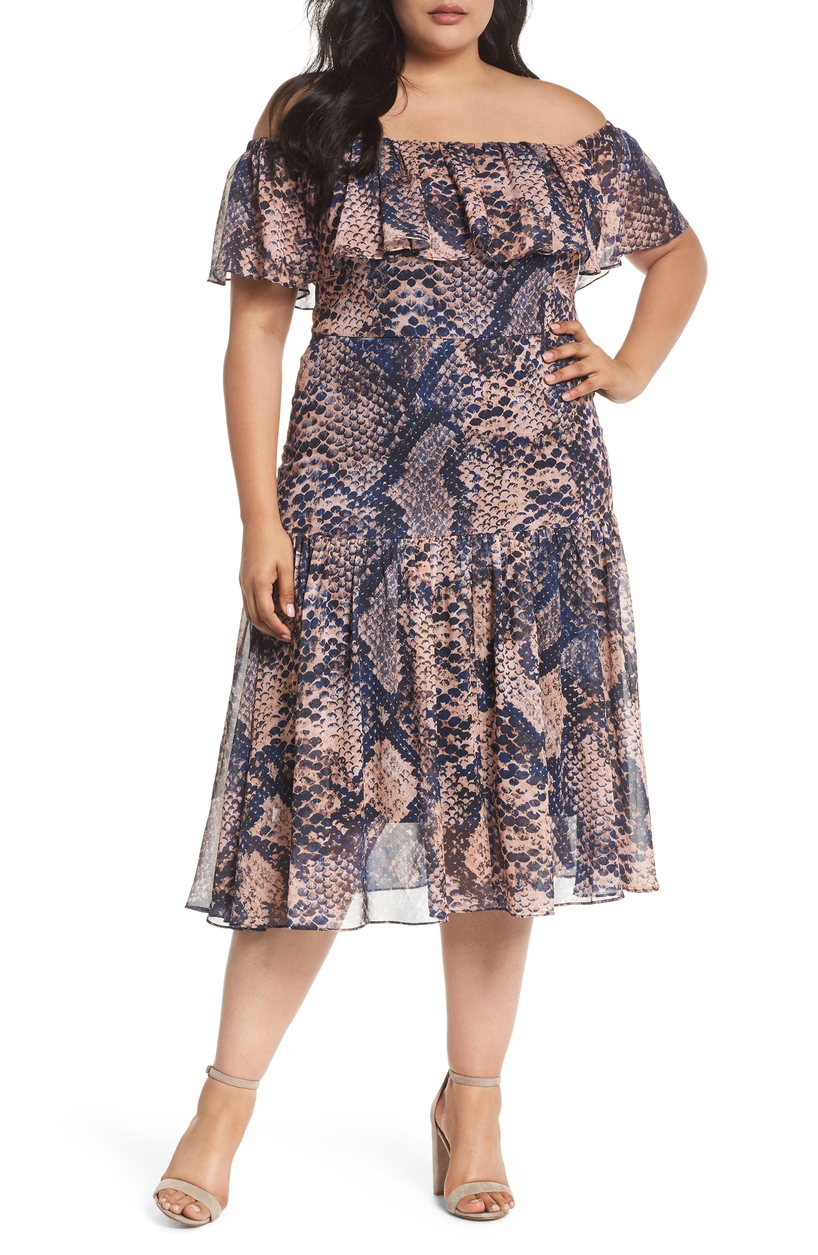 Cooper St. Boa Print Off the Shoulder Midi Dress (Plus Size)