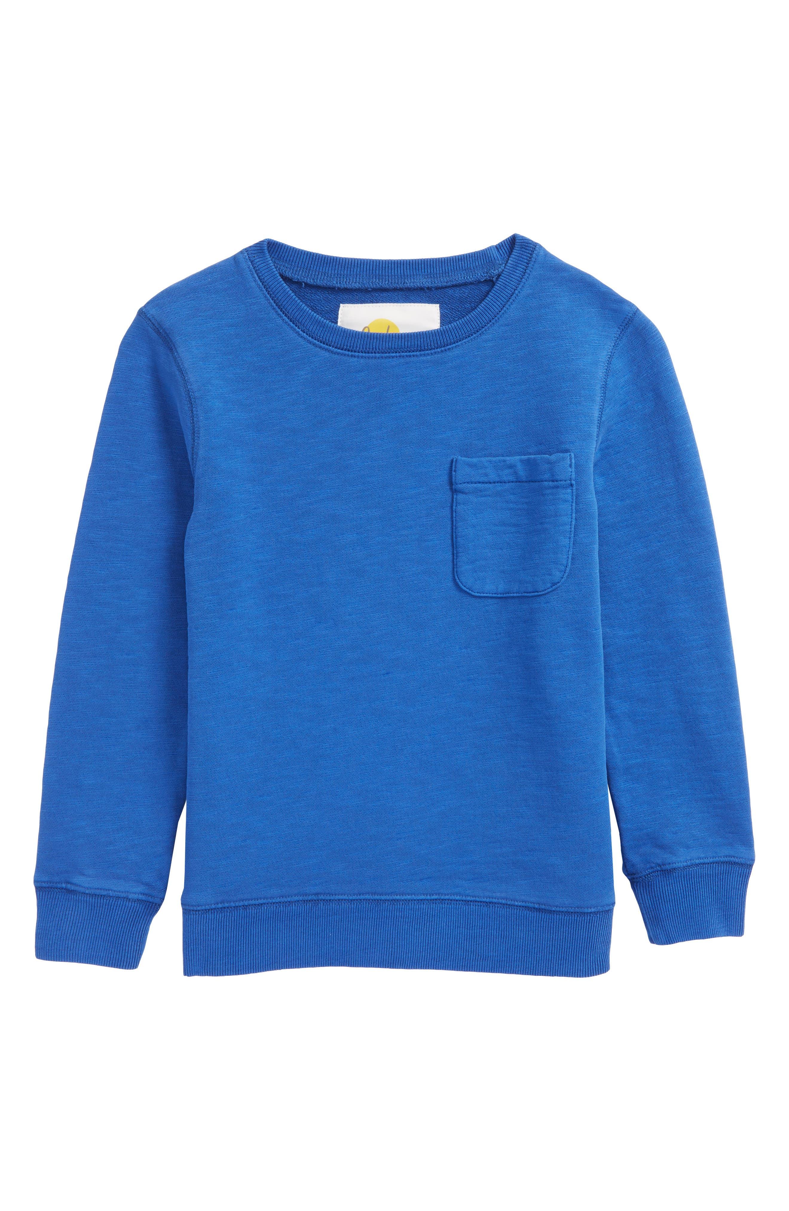 Alternate Image 1 Selected - Mini Boden Pocket Crewneck Sweatshirt (Toddler Boys, Little Boys & Big Boys)