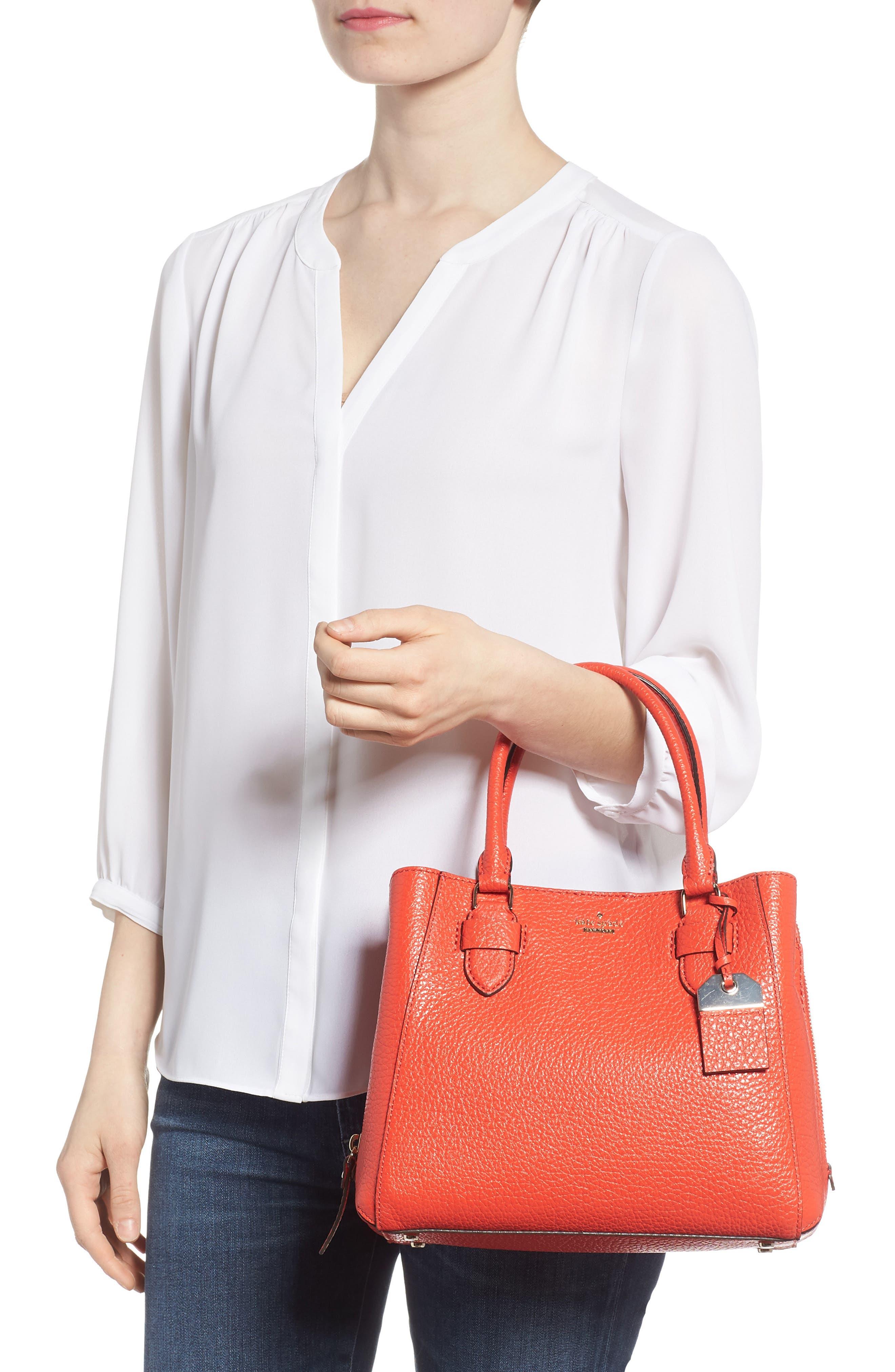 carter street - aliana leather satchel,                             Alternate thumbnail 2, color,                             Picnic Red