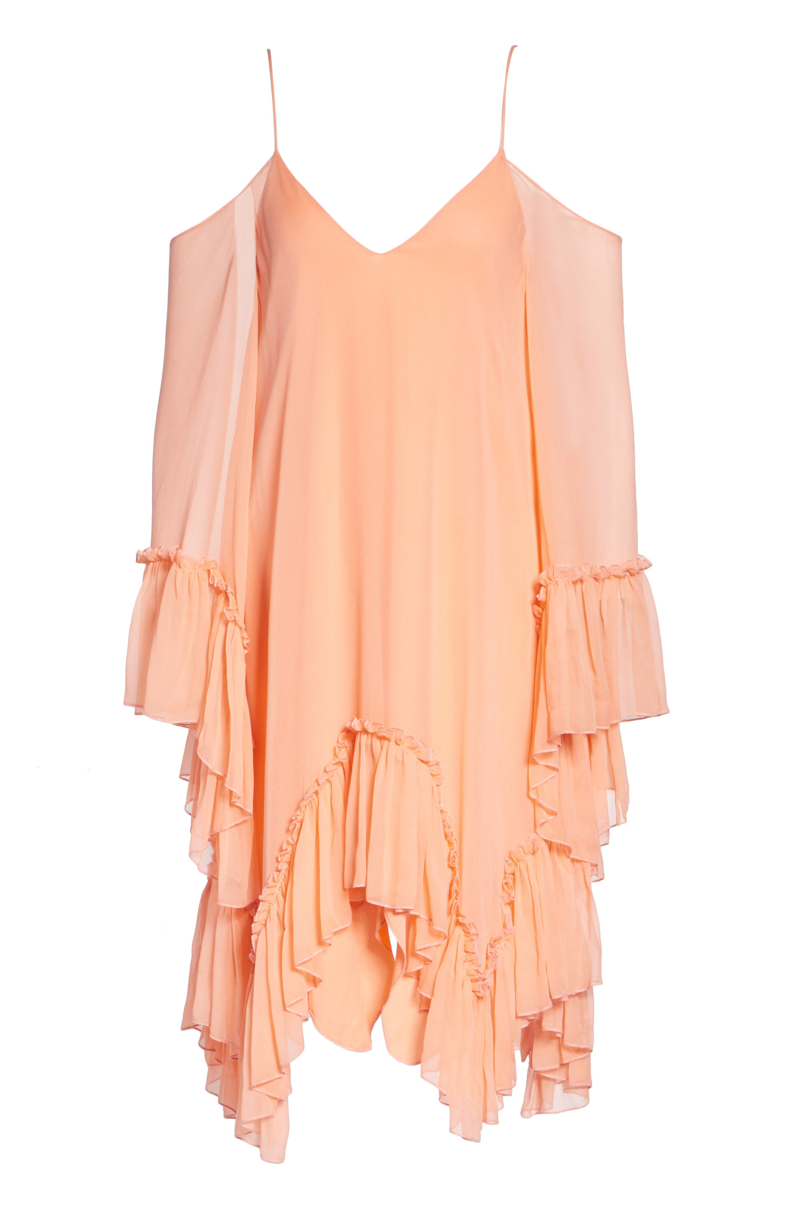 Ilaria Ruffle Cold Shoulder Silk Dress,                             Alternate thumbnail 6, color,                             Peach