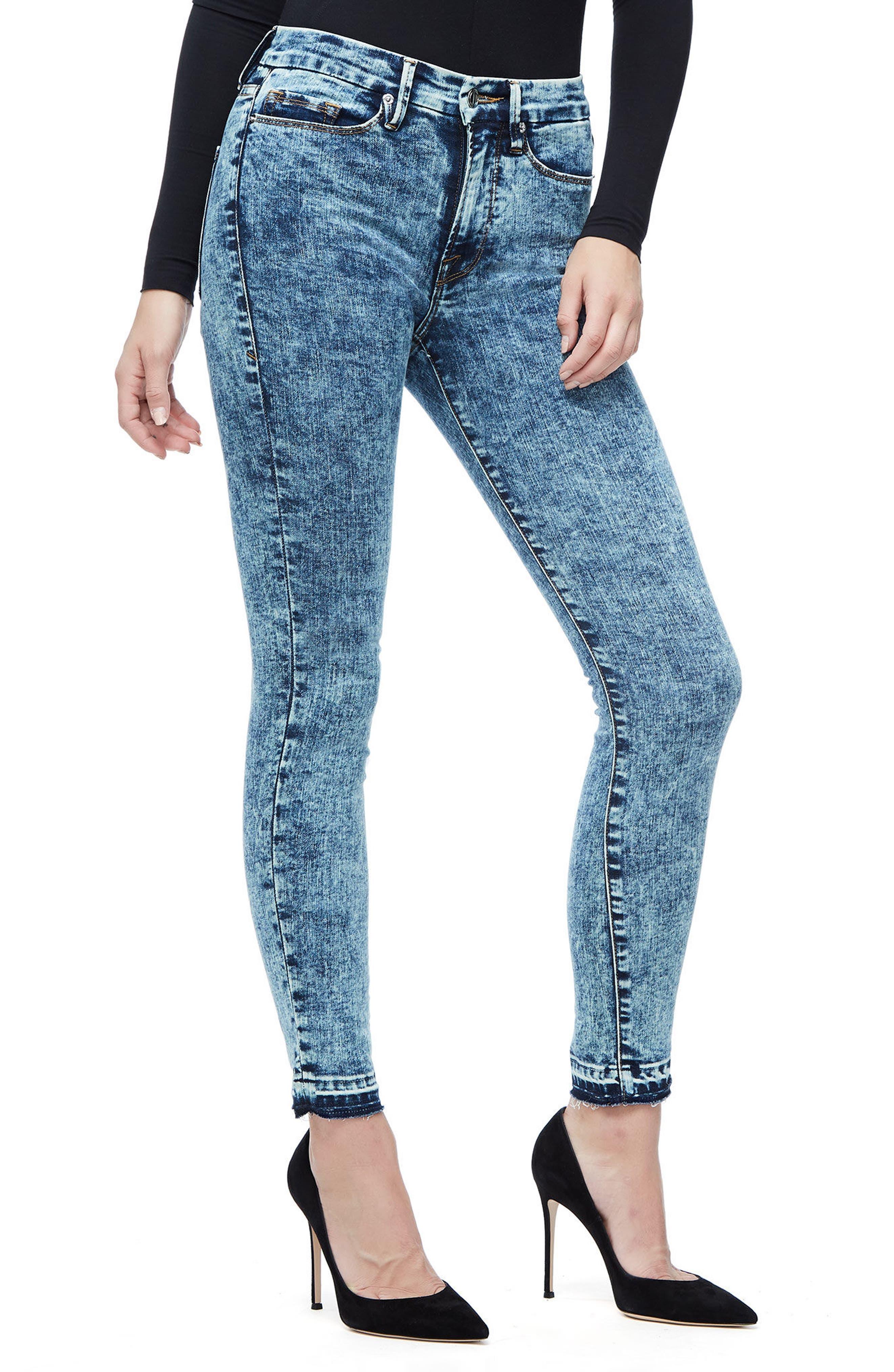 Good Waist Acid Wash Crop Skinny Jeans,                             Alternate thumbnail 3, color,                             Blue145