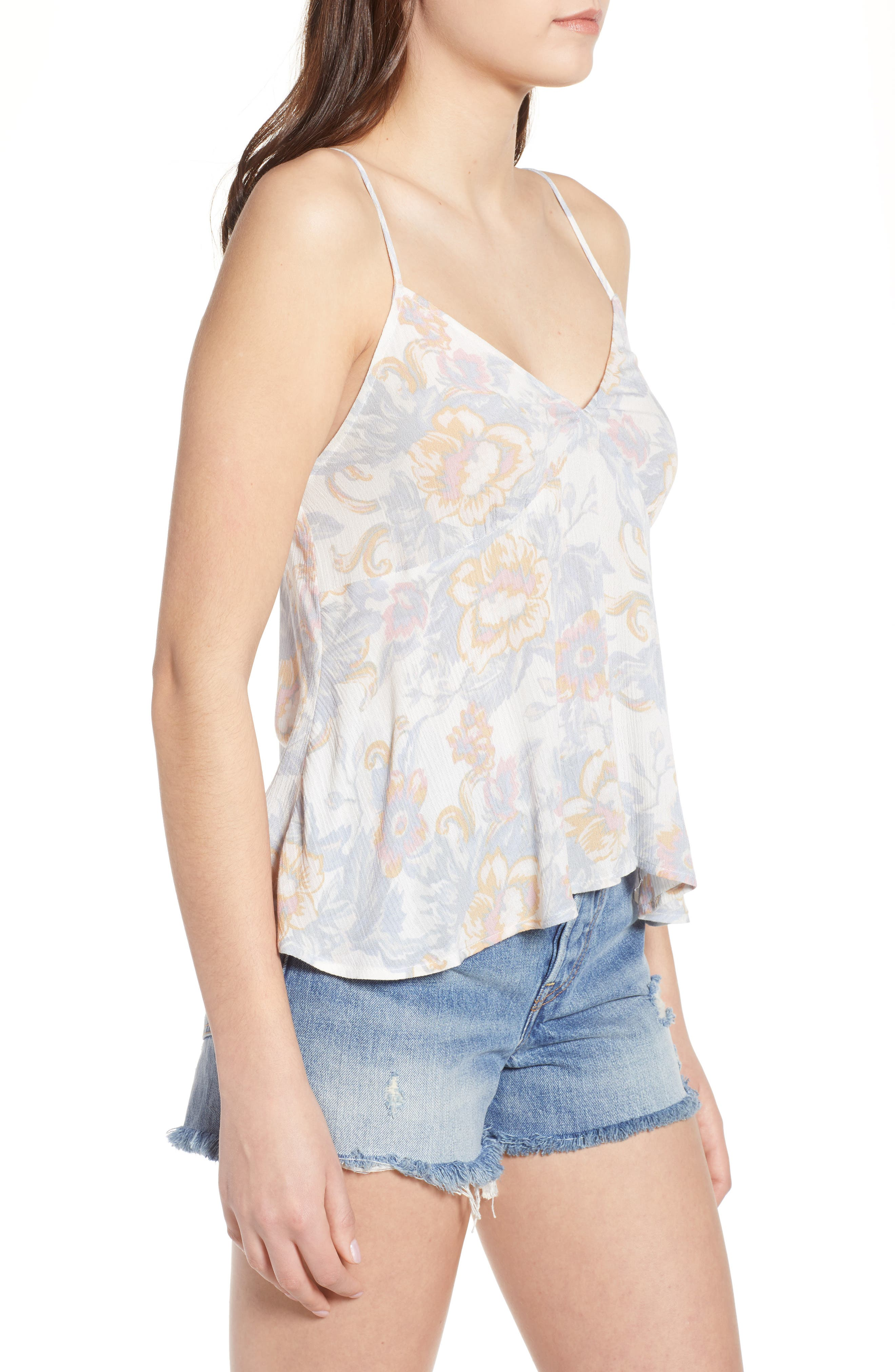 Print Babydoll Camisole,                             Alternate thumbnail 3, color,                             Ivory Egret Tapestry Floral