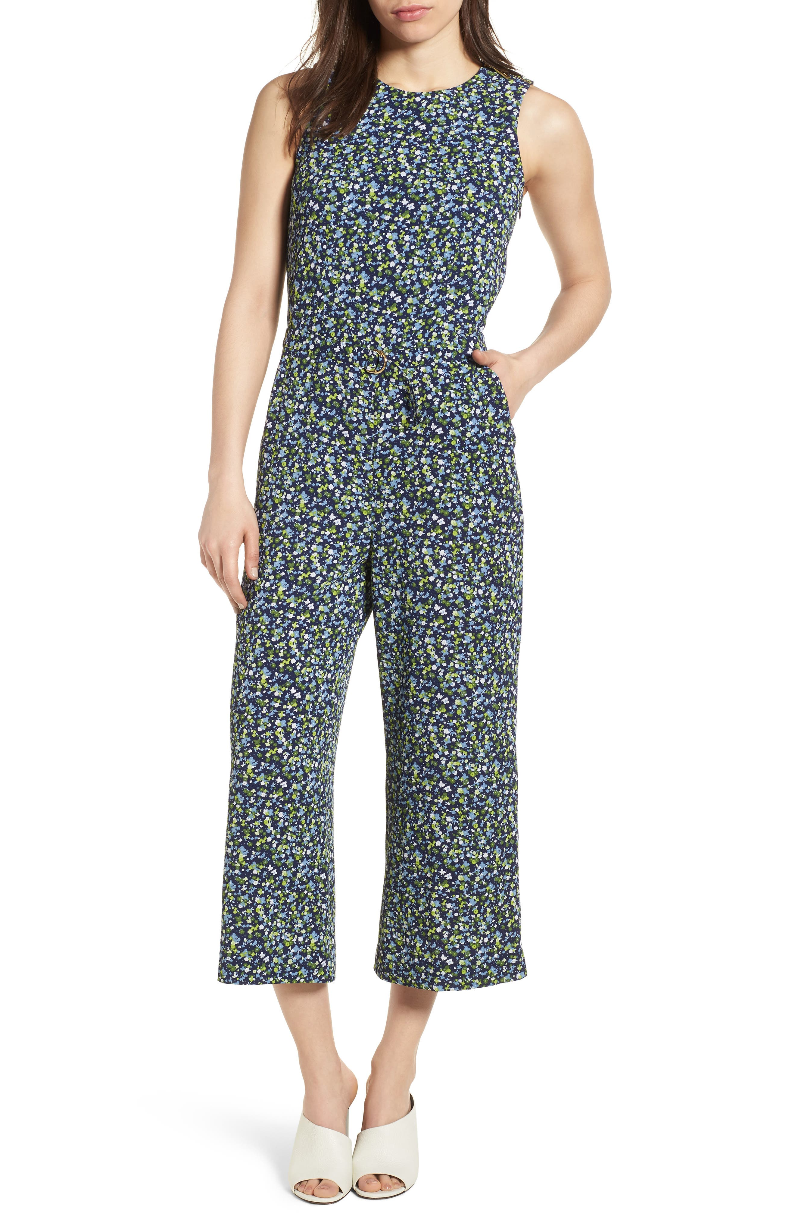Wildflower Print Jumpsuit,                             Main thumbnail 1, color,                             True Navy/ Green Apple