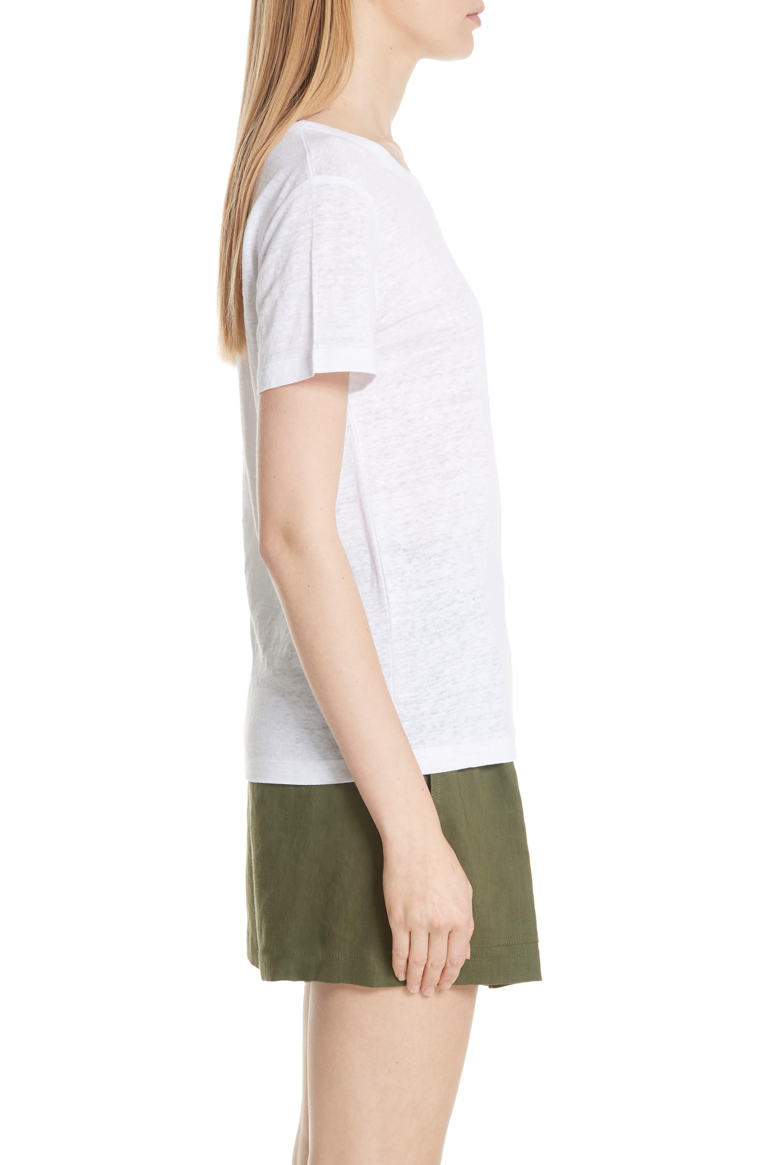 Linen Short Sleeve Top,                             Alternate thumbnail 3, color,                             Optic White