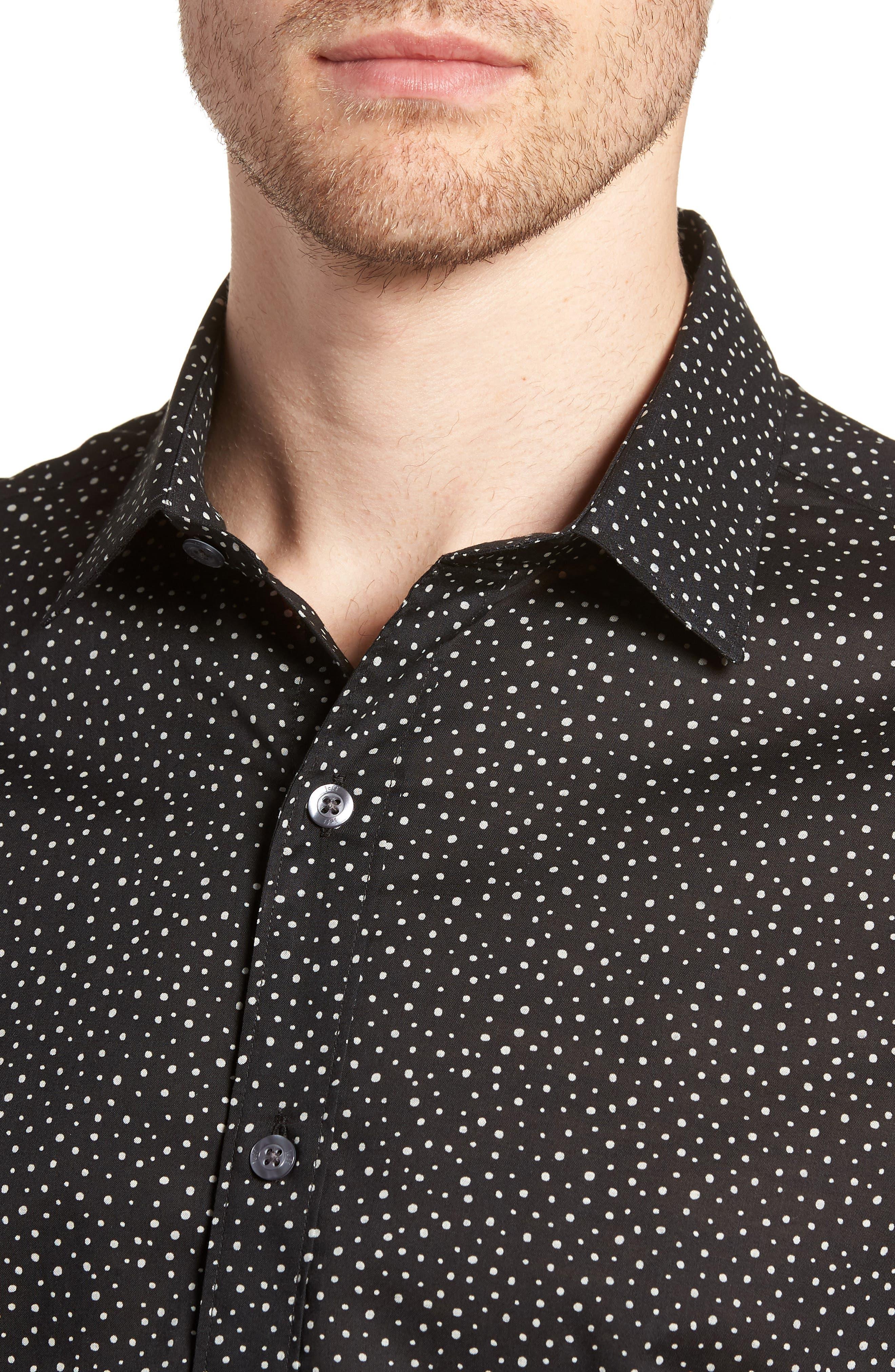 Tyler Novelty Trim Fit Sport Shirt,                             Alternate thumbnail 2, color,                             Black