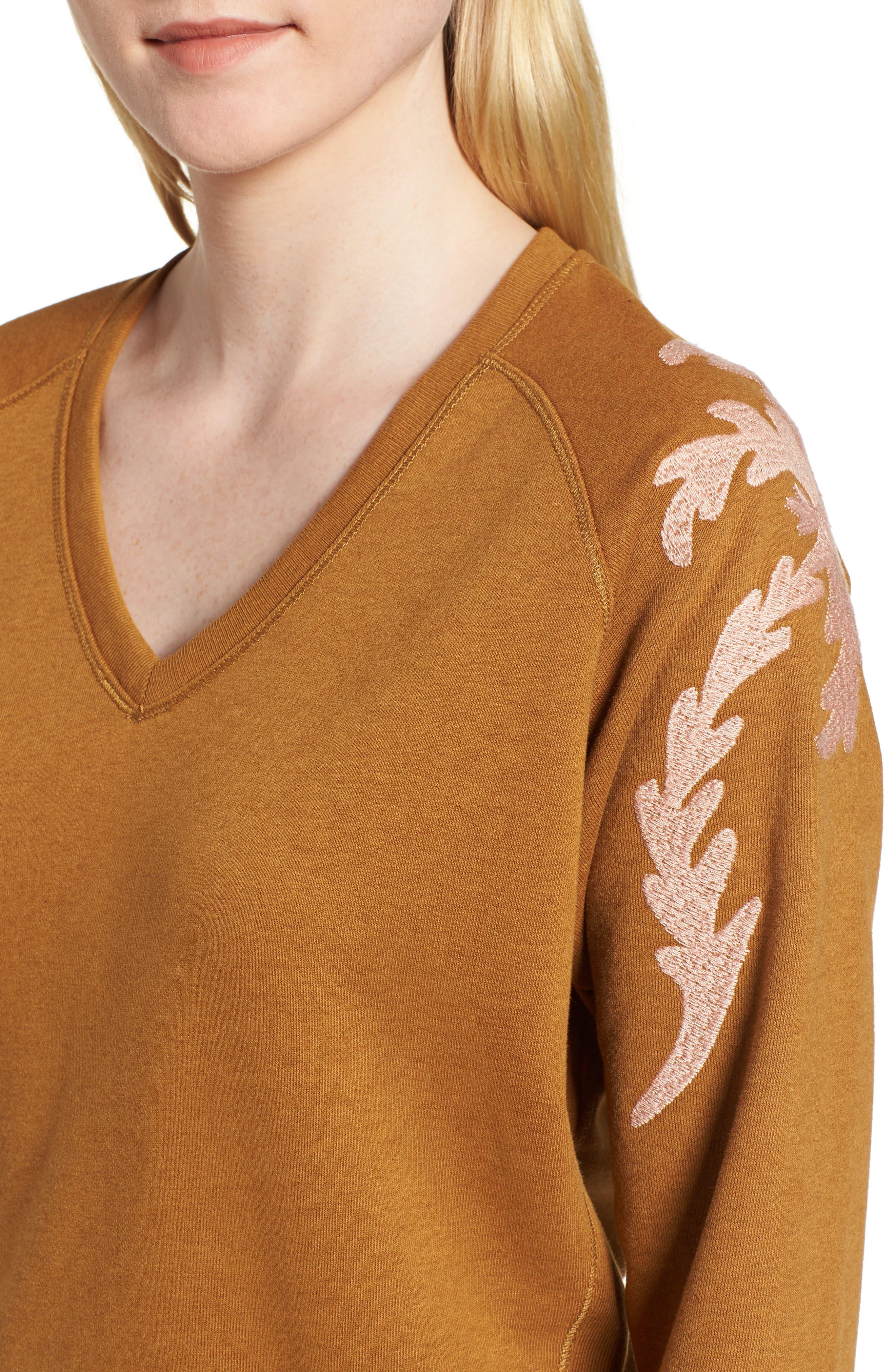Embroidered V-Neck Sweater,                             Alternate thumbnail 4, color,                             Color 2009 Hazel