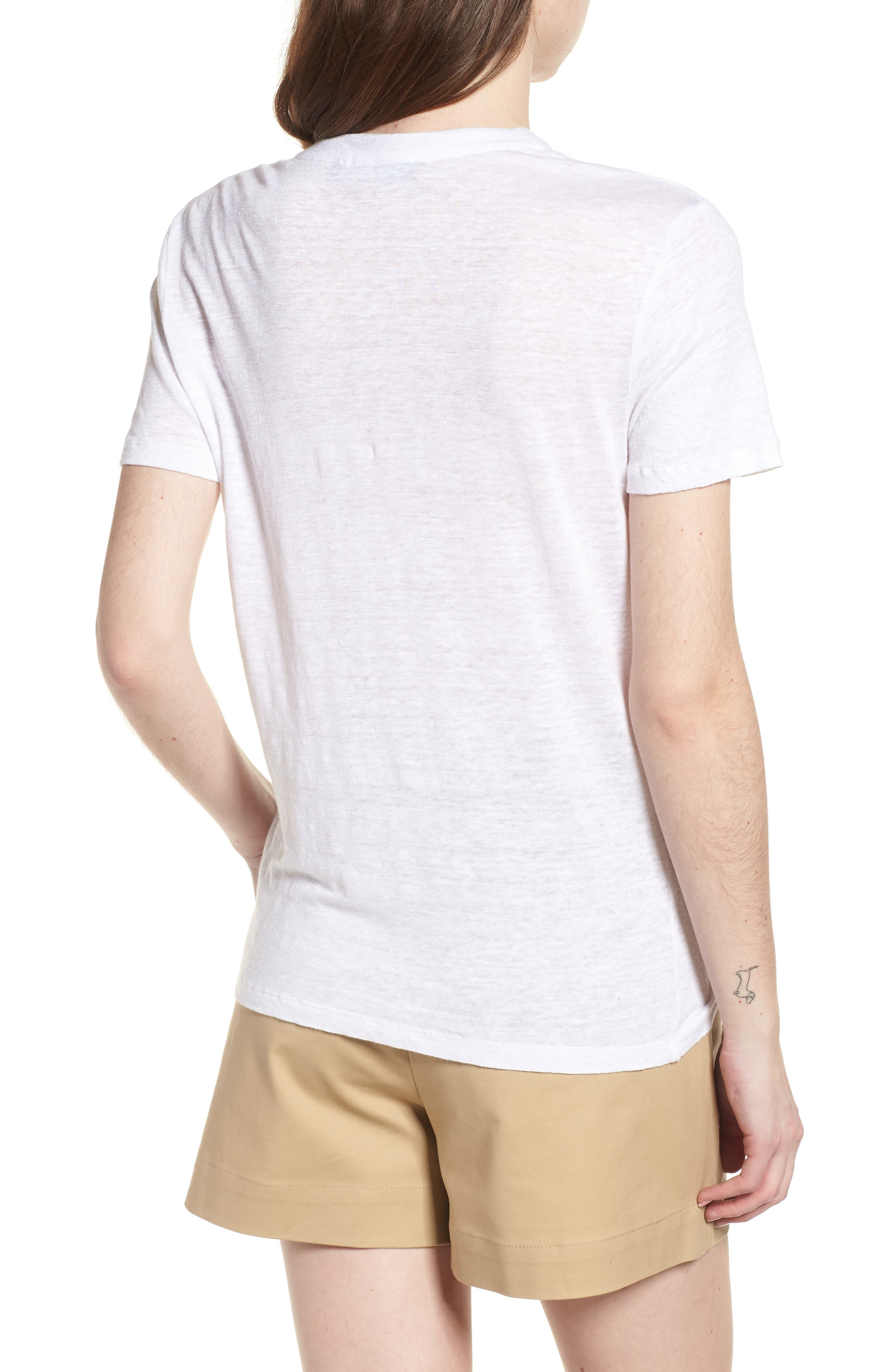 Pier Lace-Up Tee,                             Alternate thumbnail 2, color,                             White