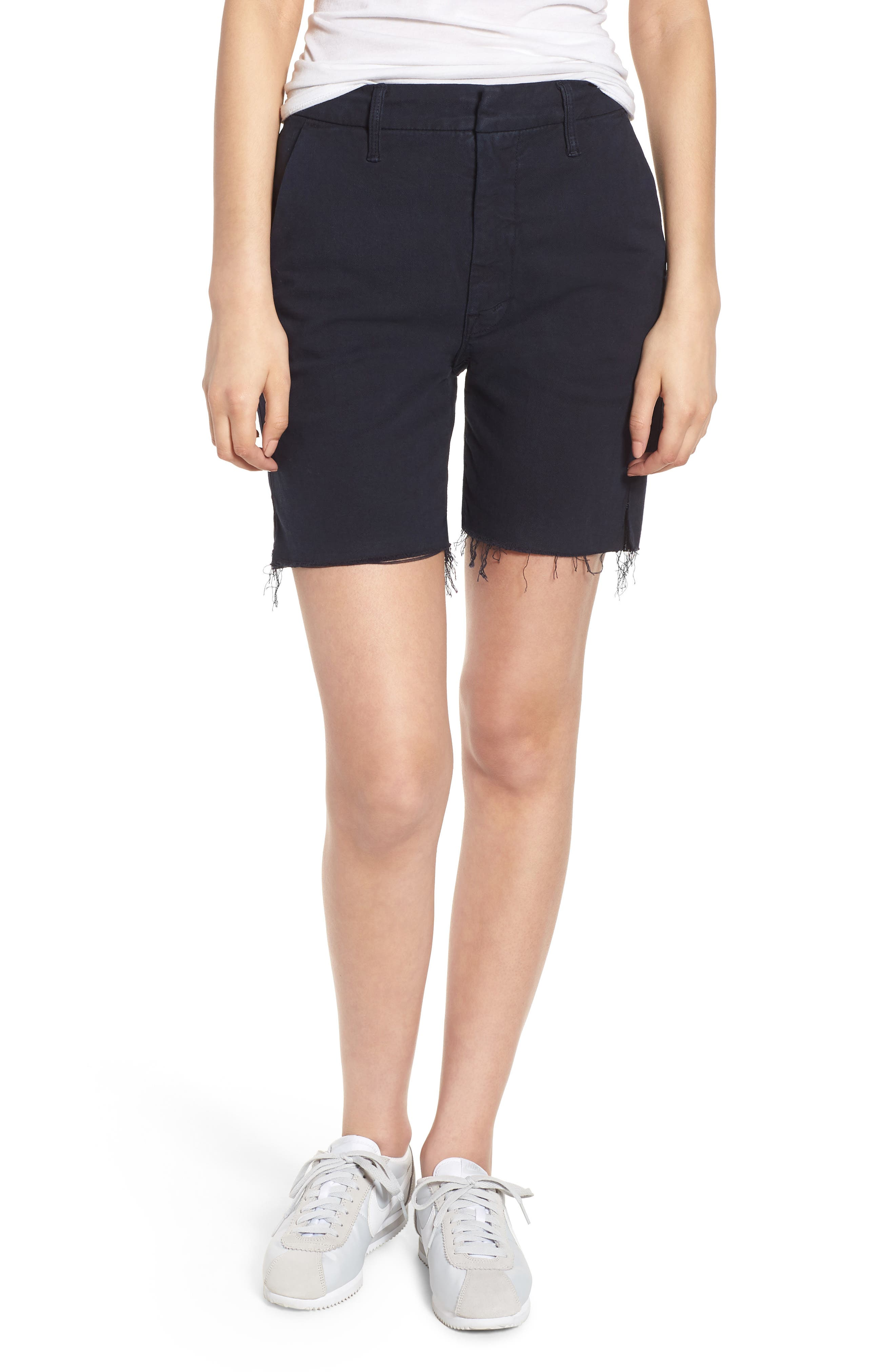 Main Image - MOTHER The Bermuda Prep Snippet Fray Twill Shorts