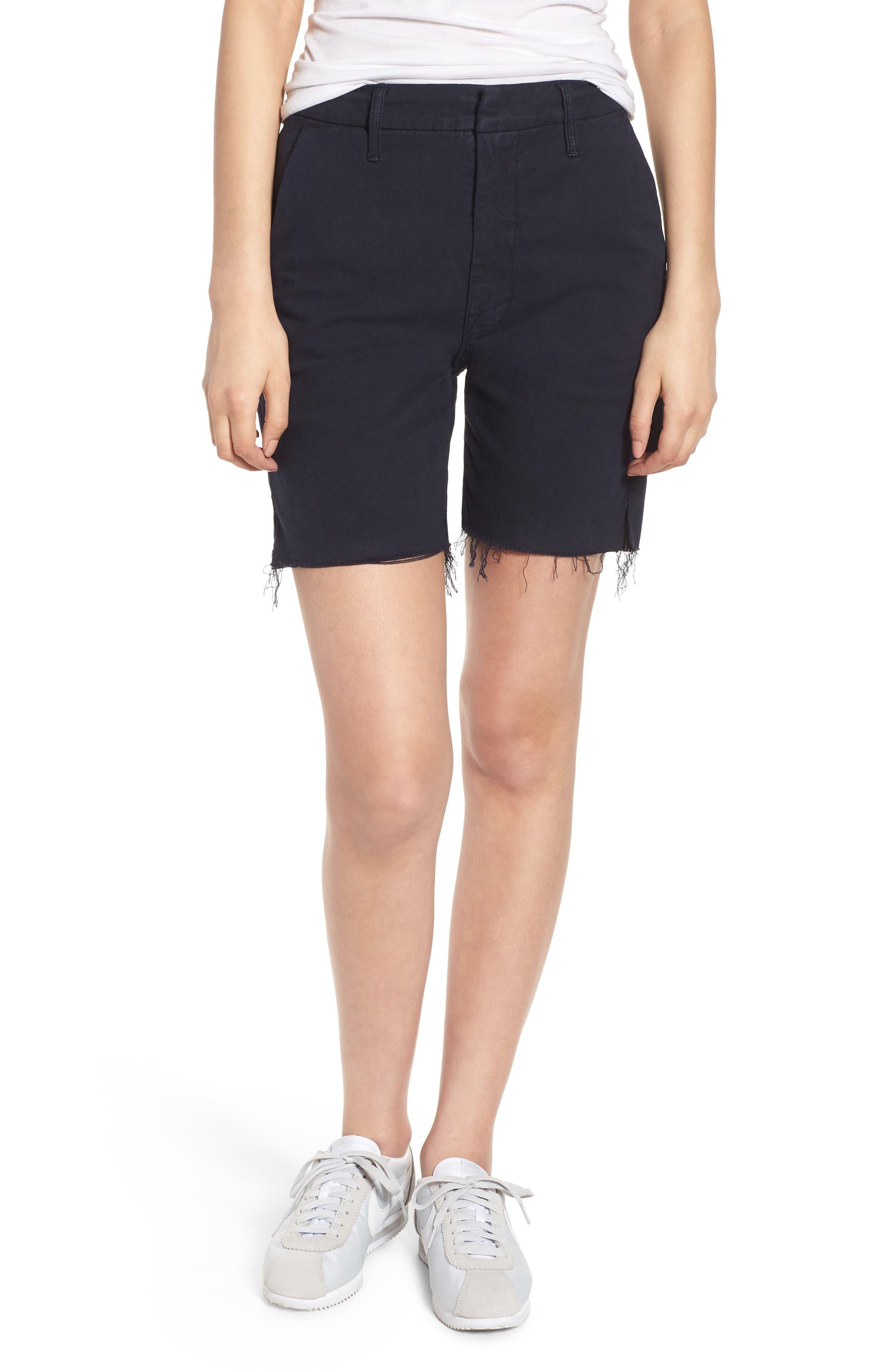 The Bermuda Prep Snippet Fray Twill Shorts,                         Main,                         color, Navy