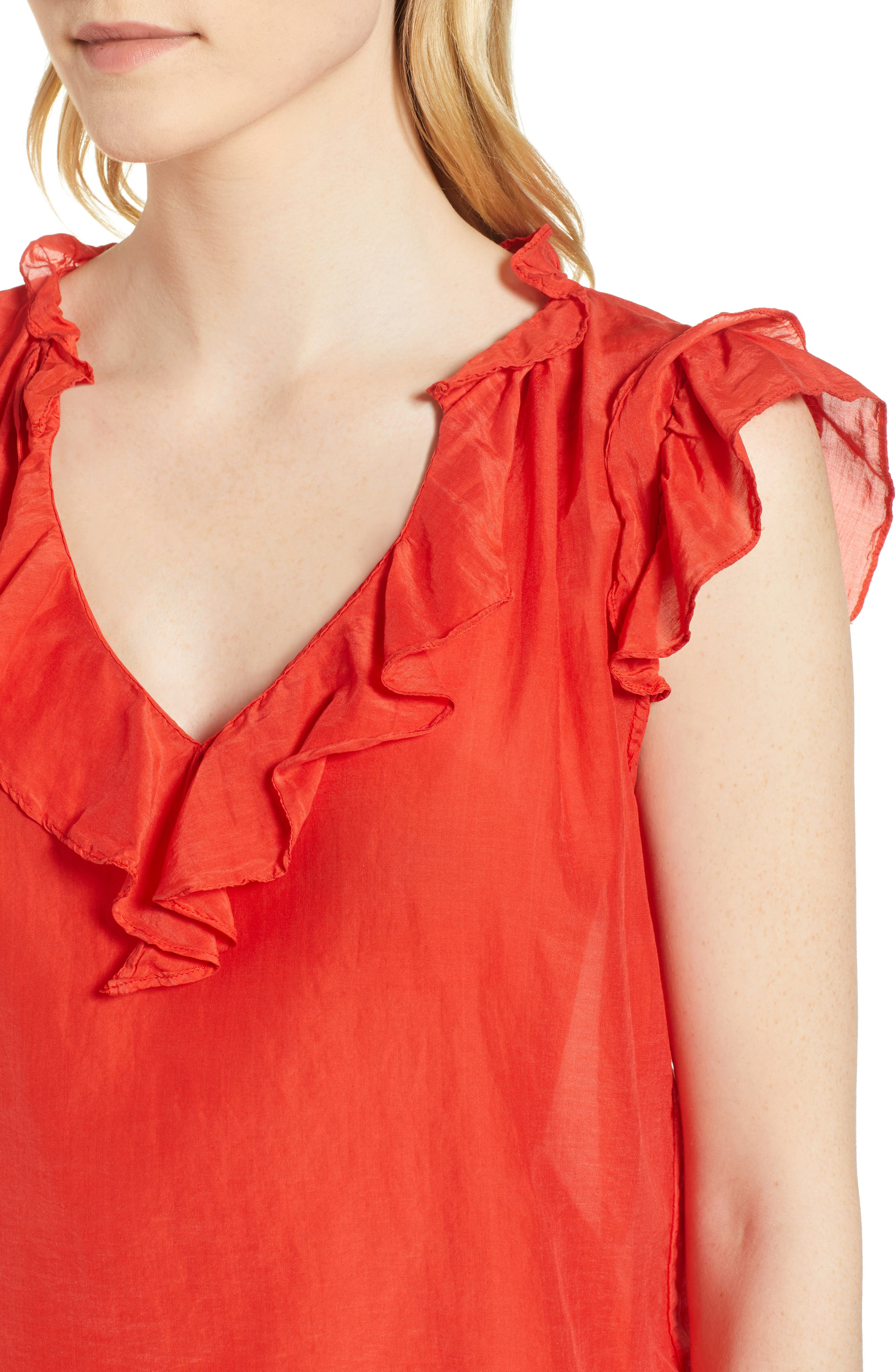 Silk and Cotton Ruffled Top,                             Alternate thumbnail 4, color,                             Cardinal