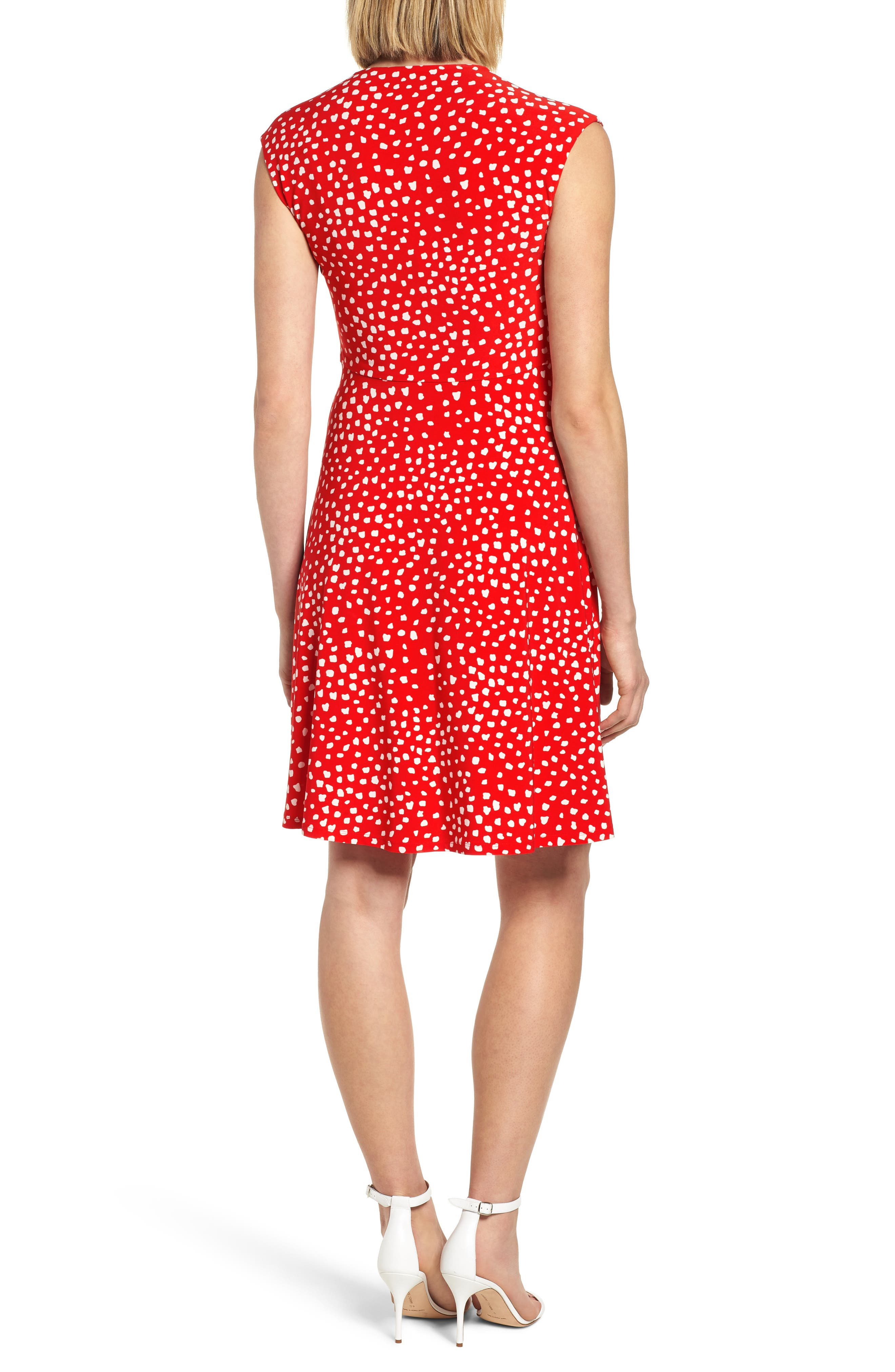 Ceylon Twist Fit and Flare Dress,                             Alternate thumbnail 2, color,                             Tomato/ Parchment Combo