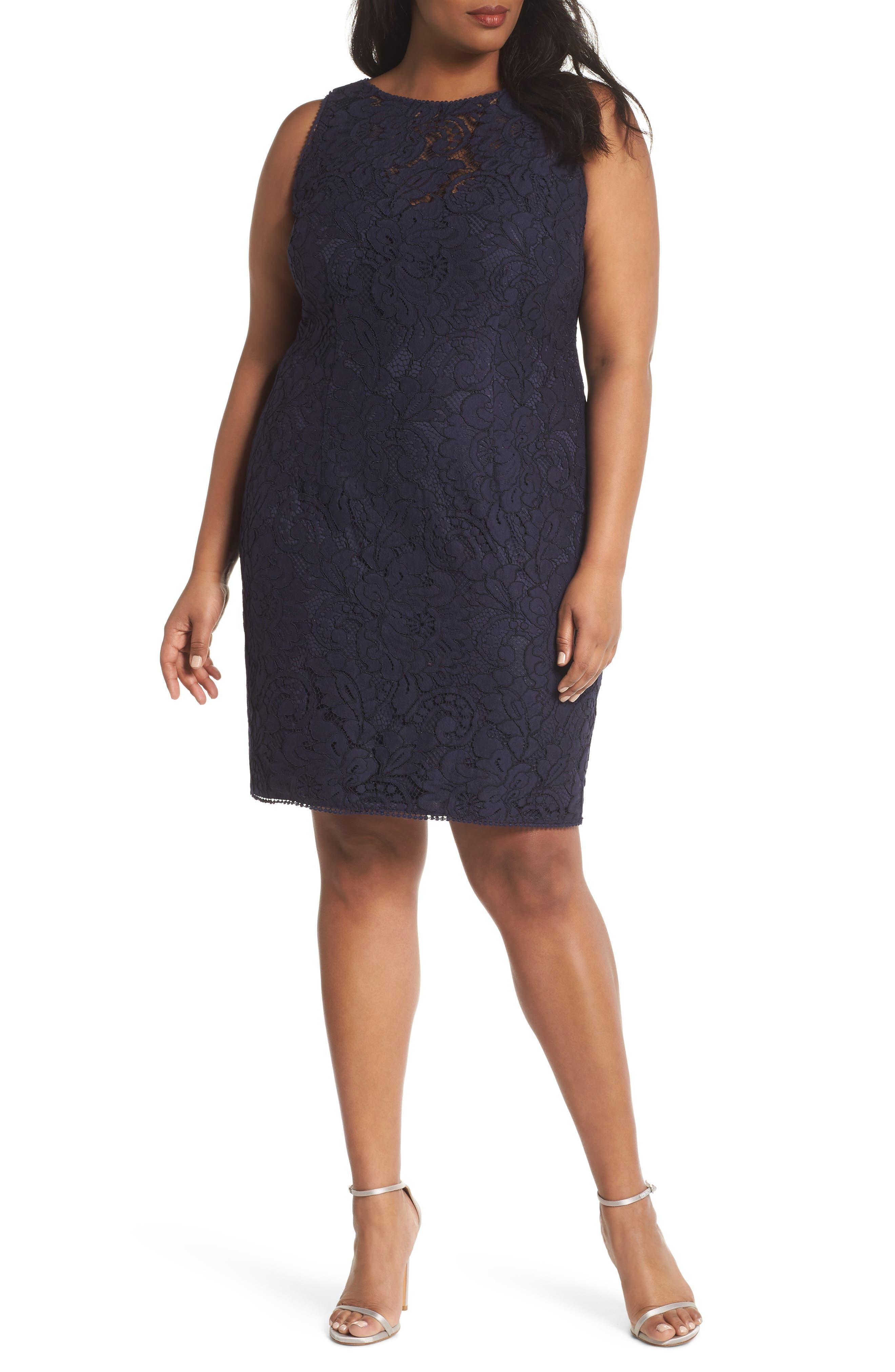 Lace Sheath Dress,                             Main thumbnail 1, color,                             Navy