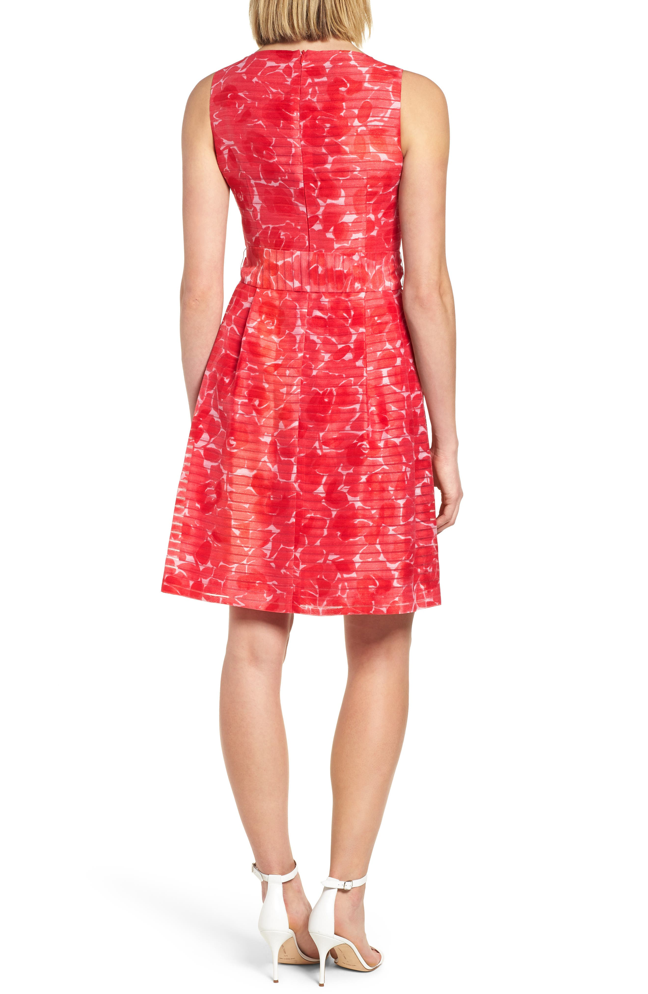 New York Rosewater Shadow Fit & Flare Dress,                             Alternate thumbnail 2, color,                             Tomato Combo