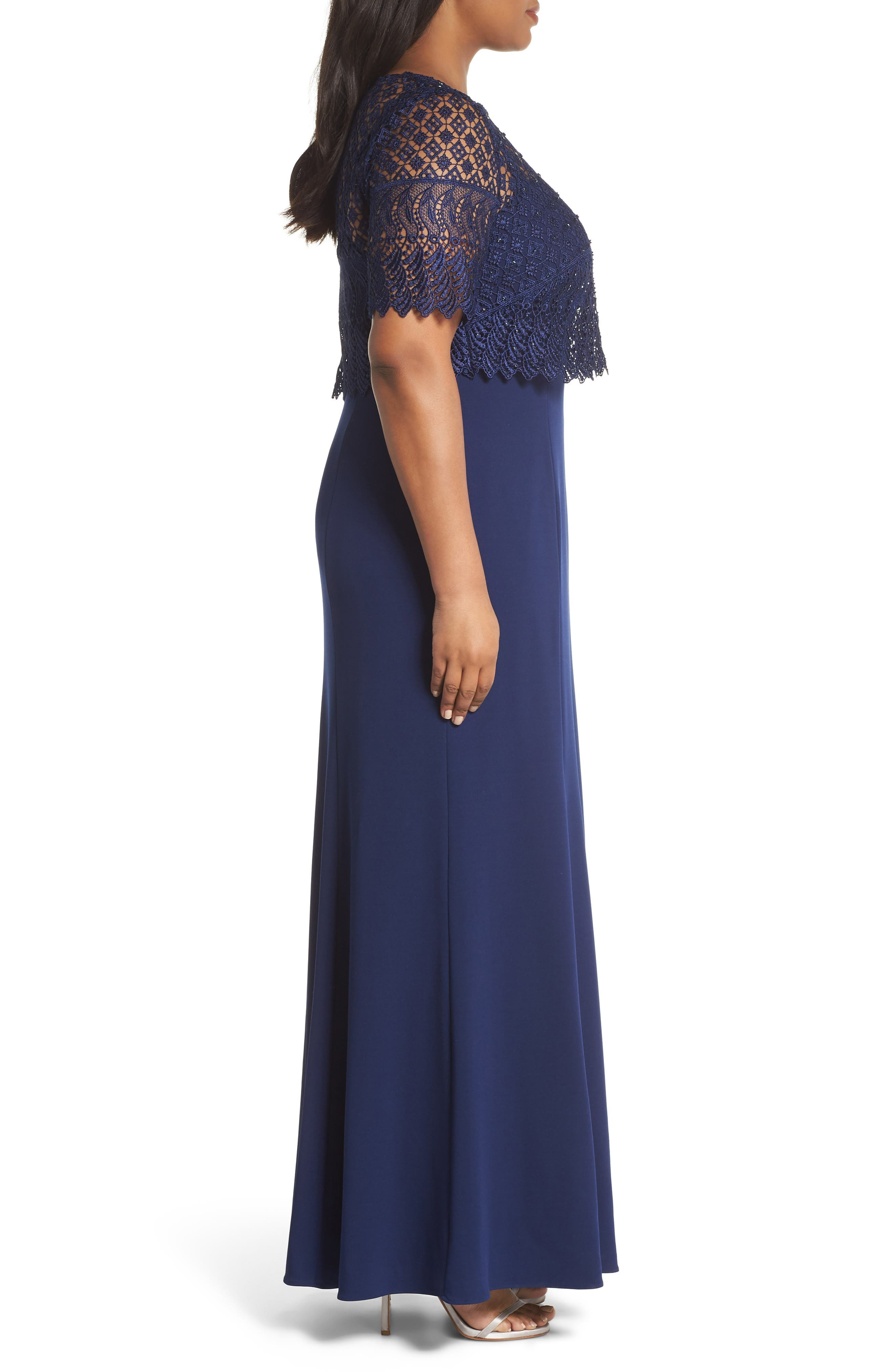 Guipure Popover Crepe Gown,                             Alternate thumbnail 3, color,                             Light Navy