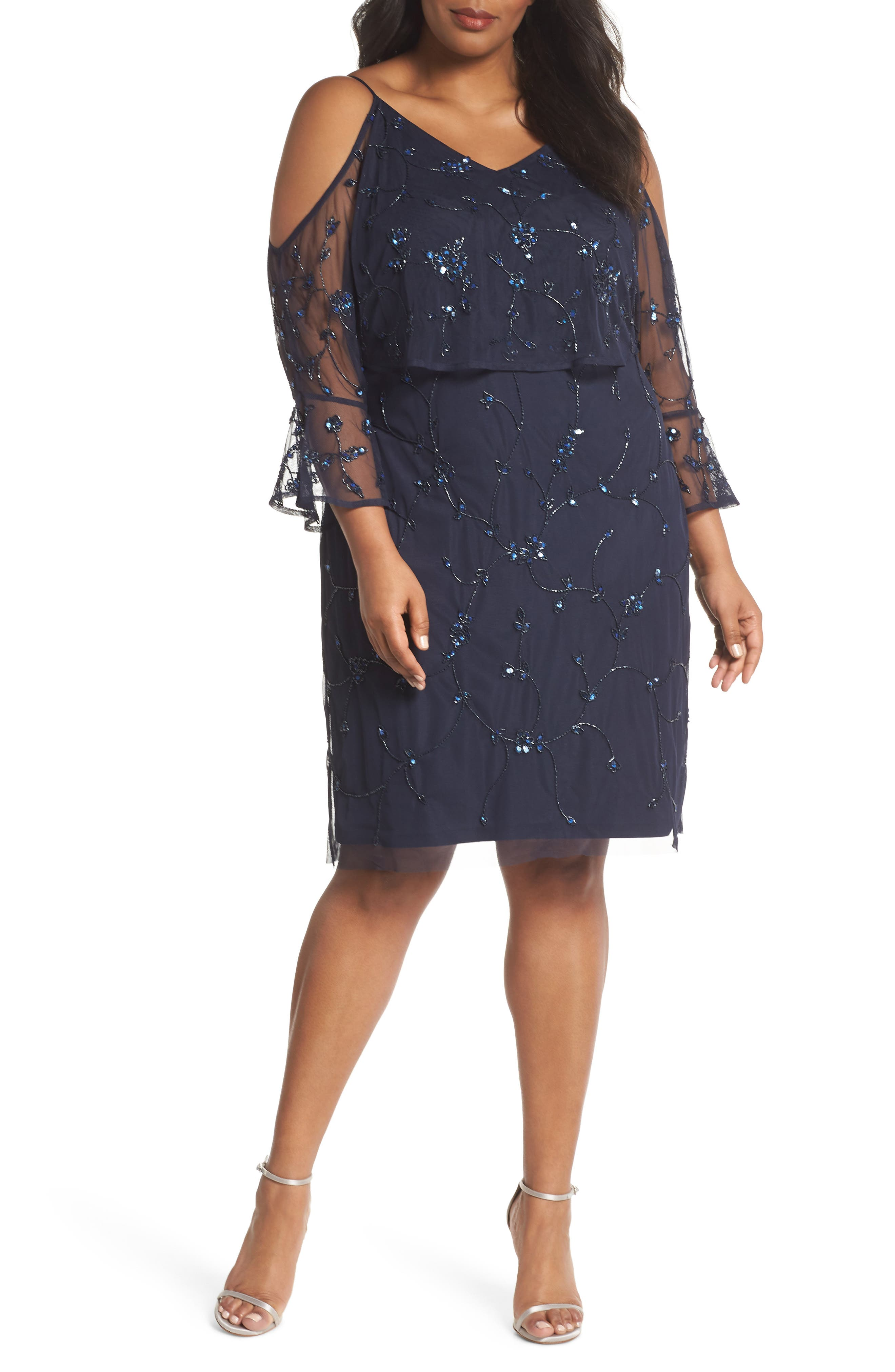 Adrianna Papell Vine Beaded Cold Shoulder Mesh Dress (Plus Size)