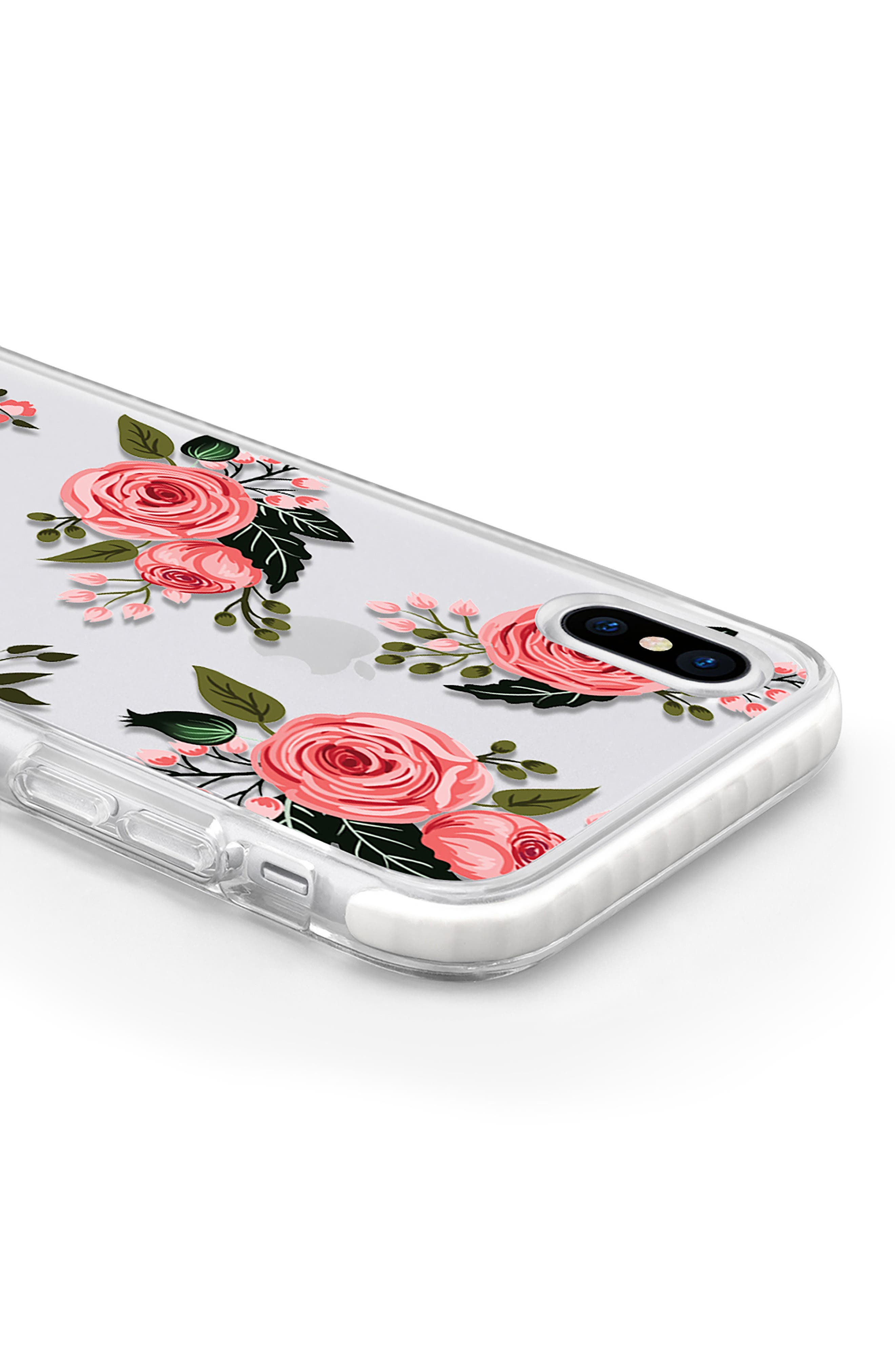 Pink Floral Impact iPhone X Case,                             Alternate thumbnail 4, color,                             Pink