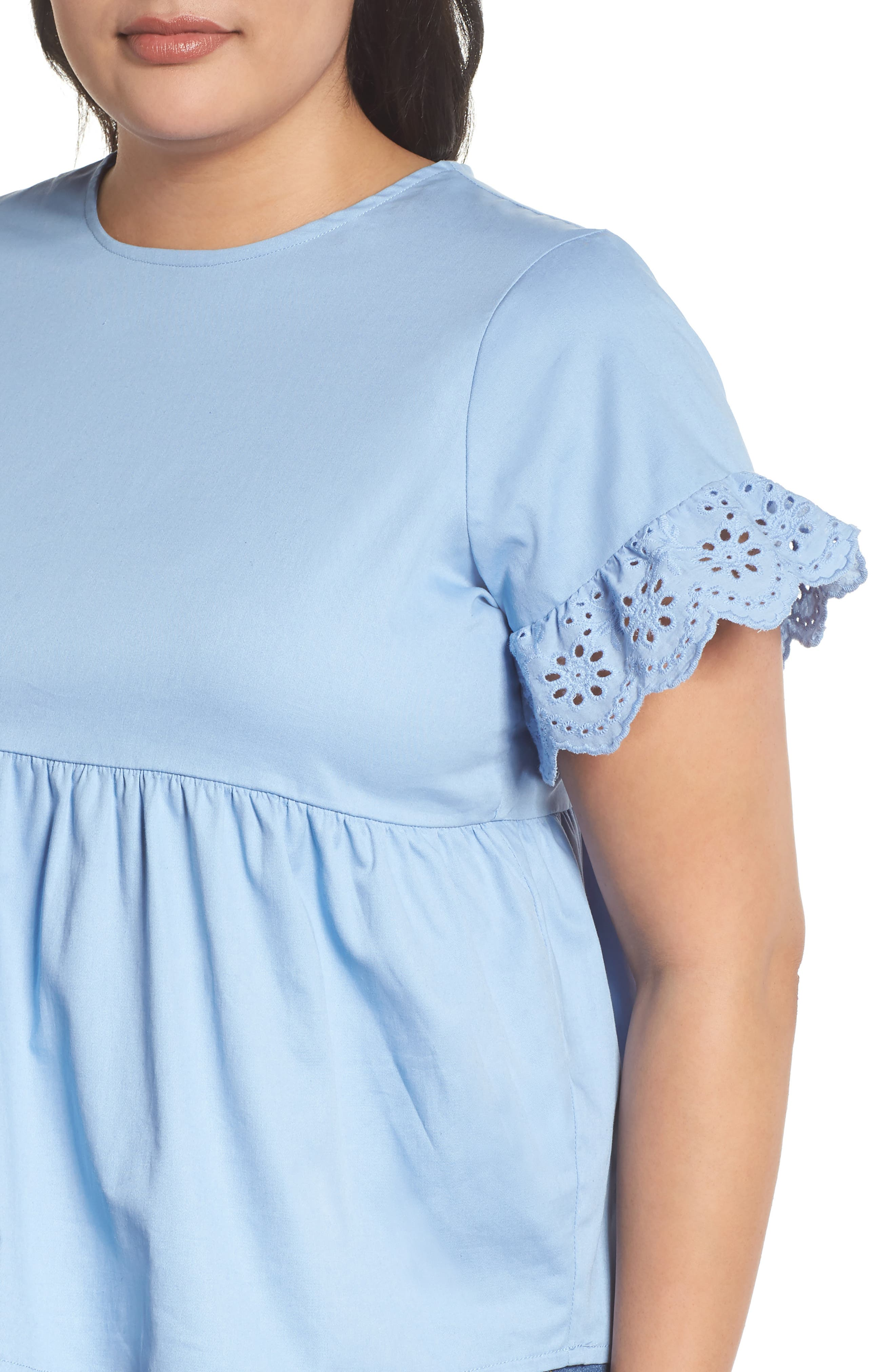 Daisy Trim Swing Top,                             Alternate thumbnail 4, color,                             Blue