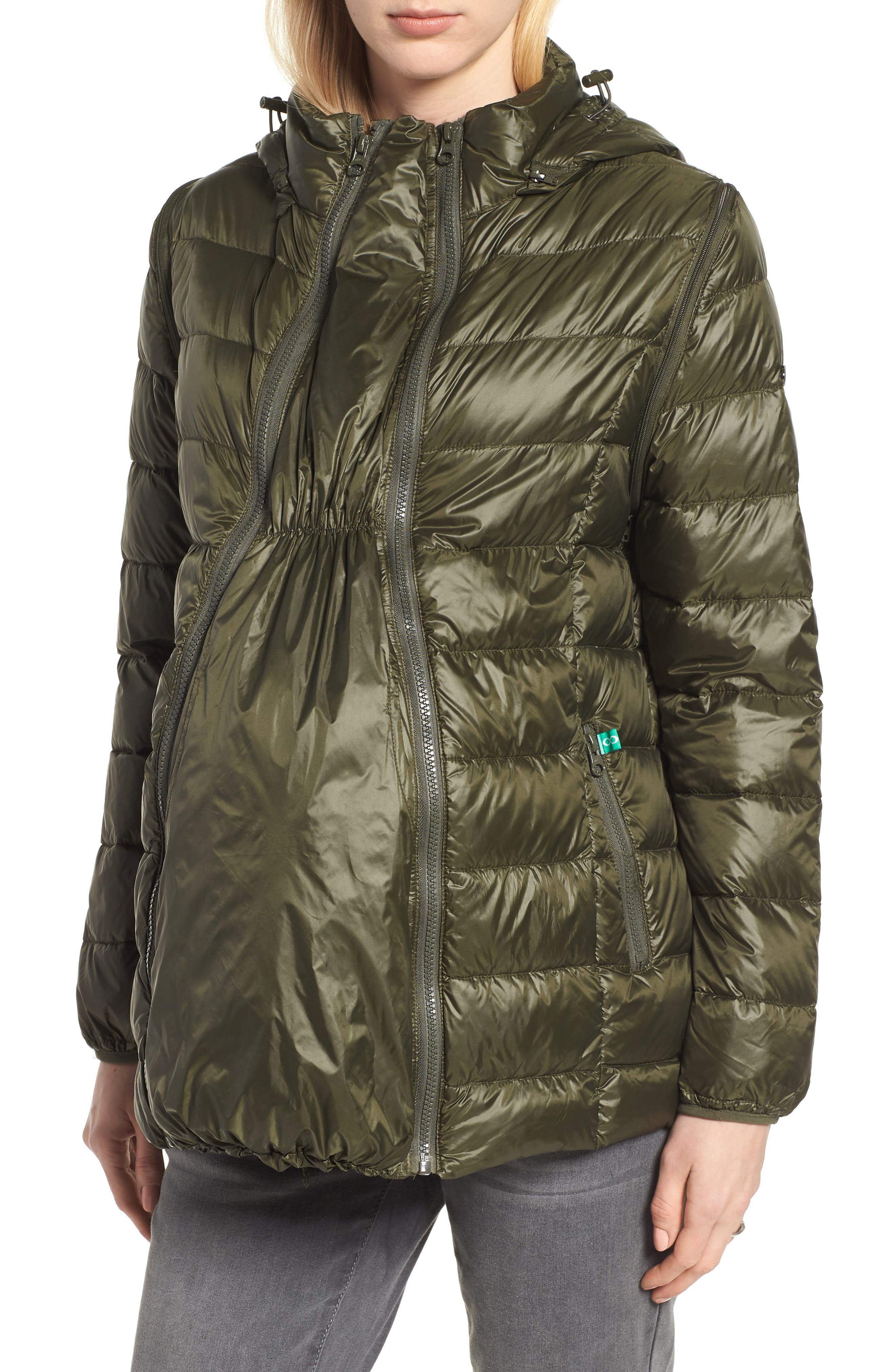 Lightweight Puffer Convertible 3-in-1 Maternity Jacket,                         Main,                         color, Khaki Green