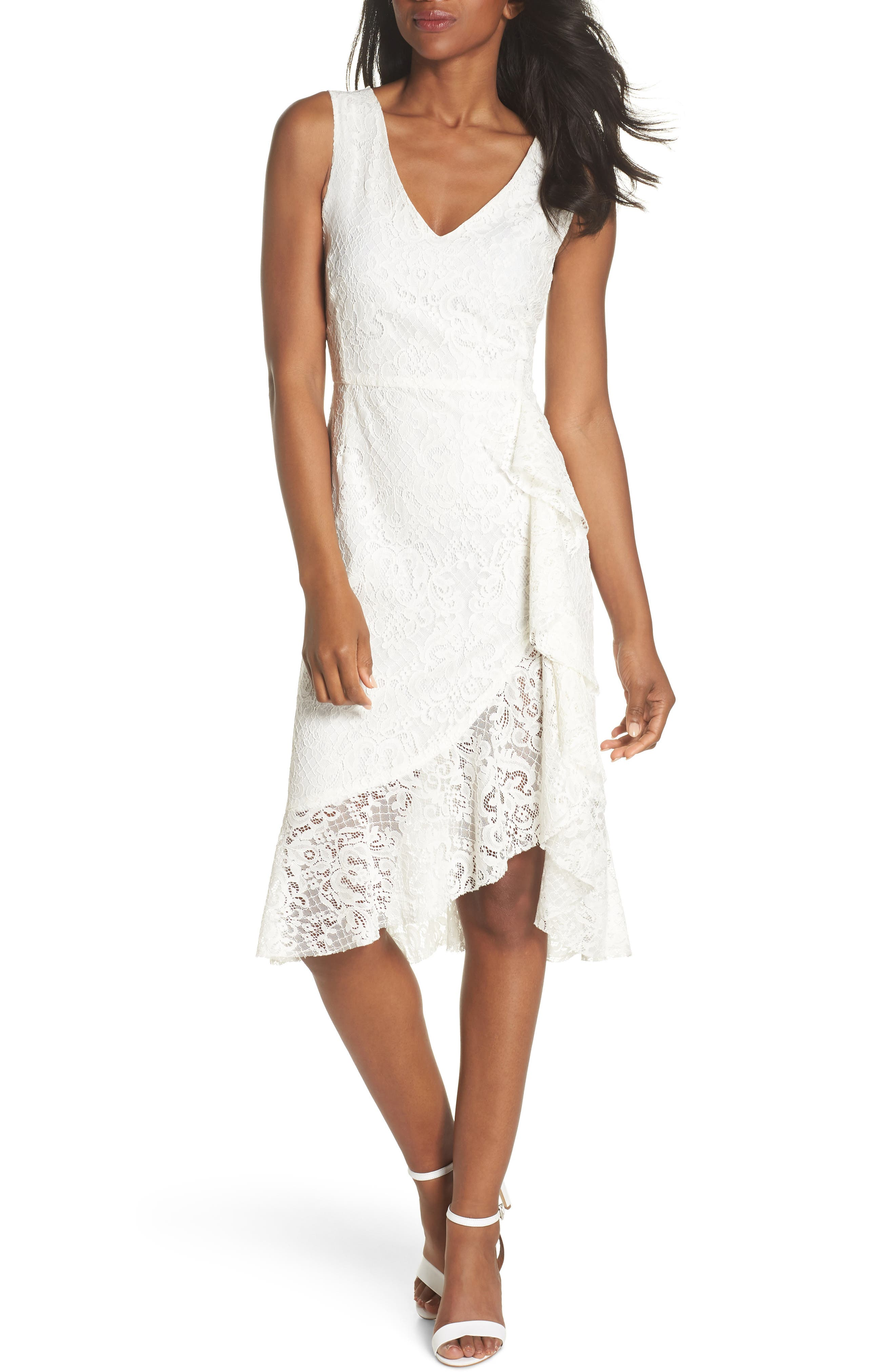 Ruffle Lace Dress,                         Main,                         color, Off White