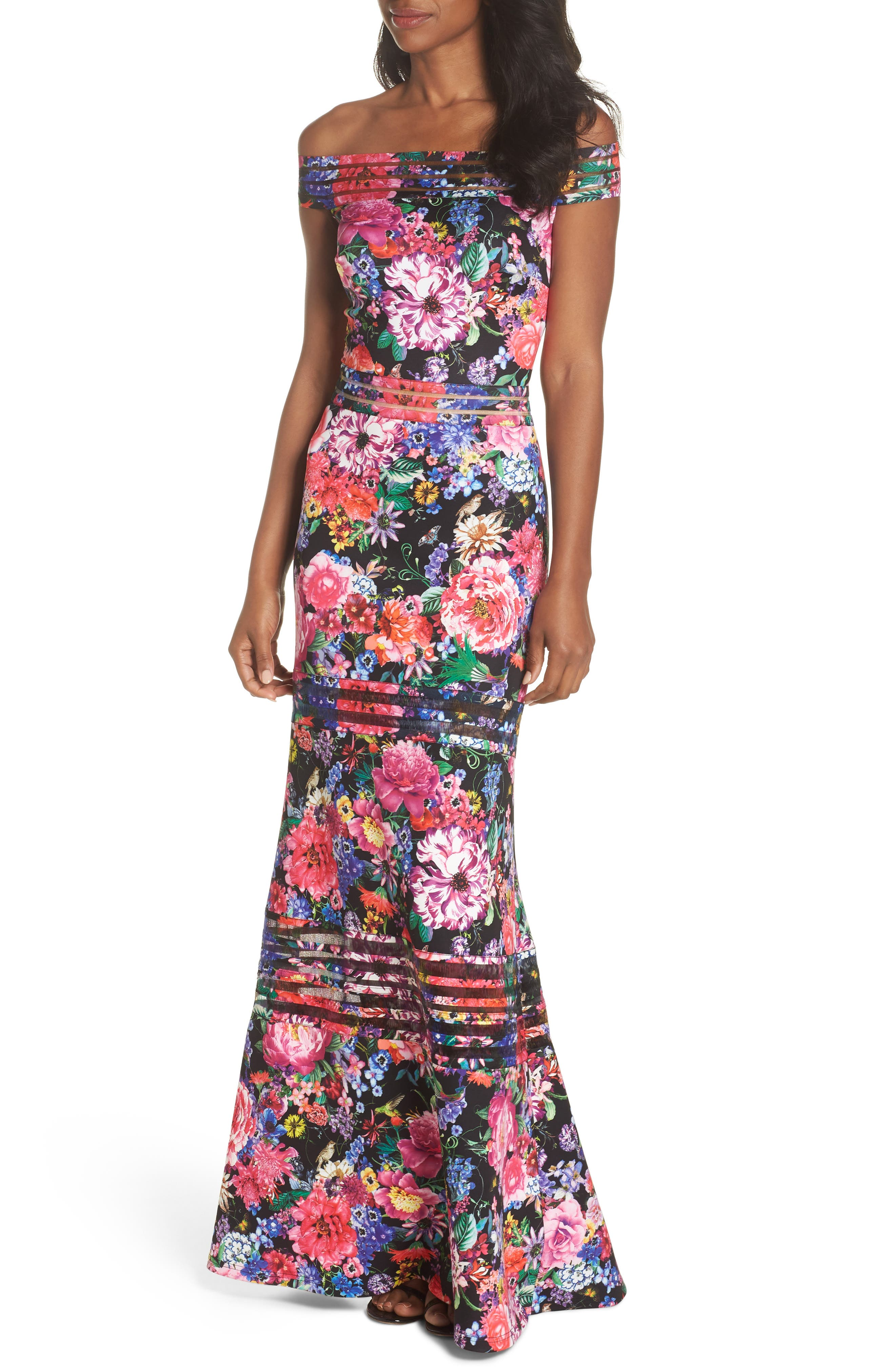 Bondi Off the Shoulder Gown,                             Main thumbnail 1, color,                             Black Floral