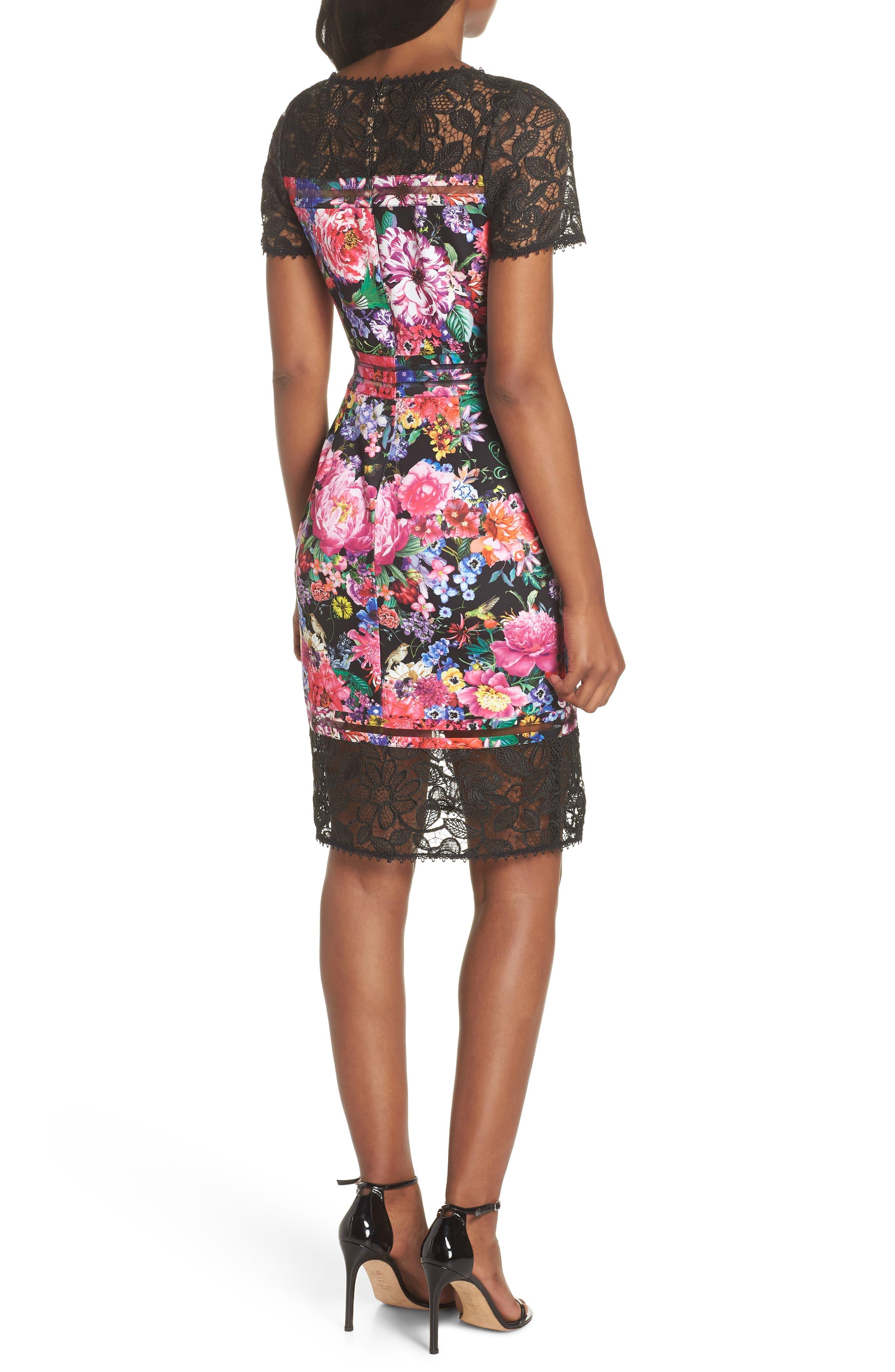 Floral & Lace Sheath Dress,                             Alternate thumbnail 2, color,                             Black/ Floral