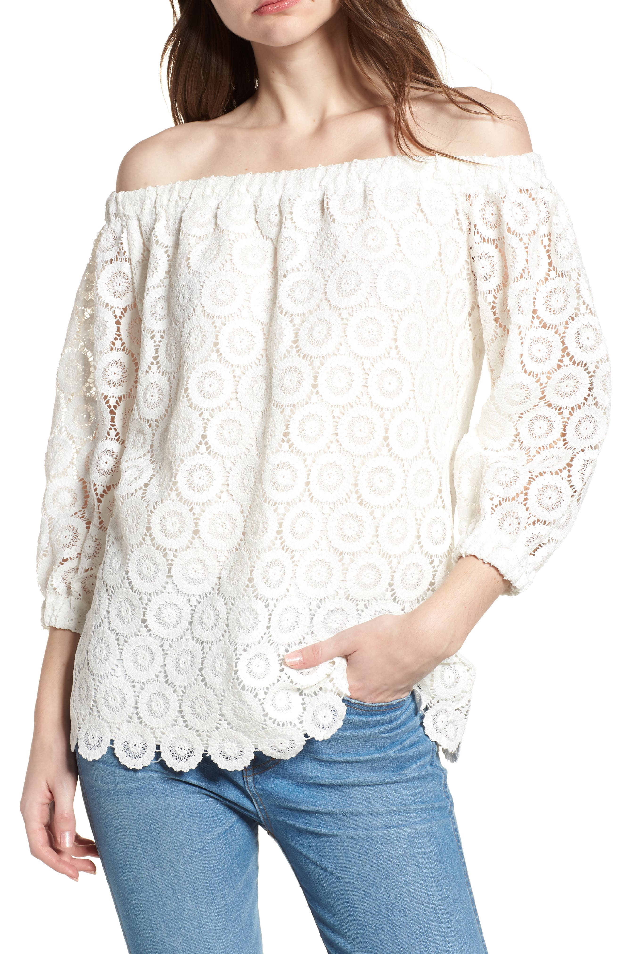 Bishop + Young Karlee Lace Off the Shoulder Top,                             Main thumbnail 1, color,                             White