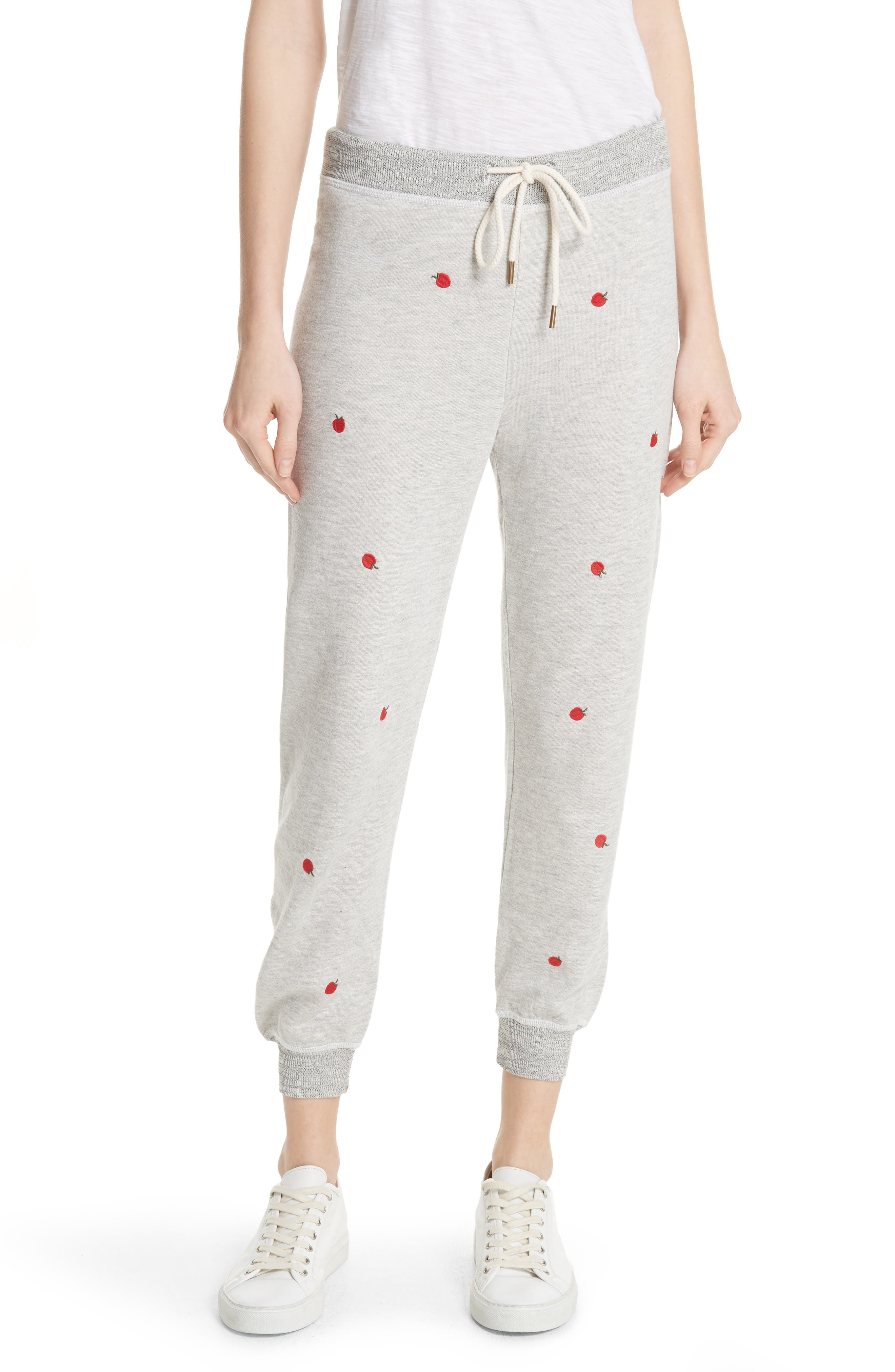 The Cropped Sweatpants,                             Main thumbnail 1, color,                             Light Heather Grey/ Red Apples