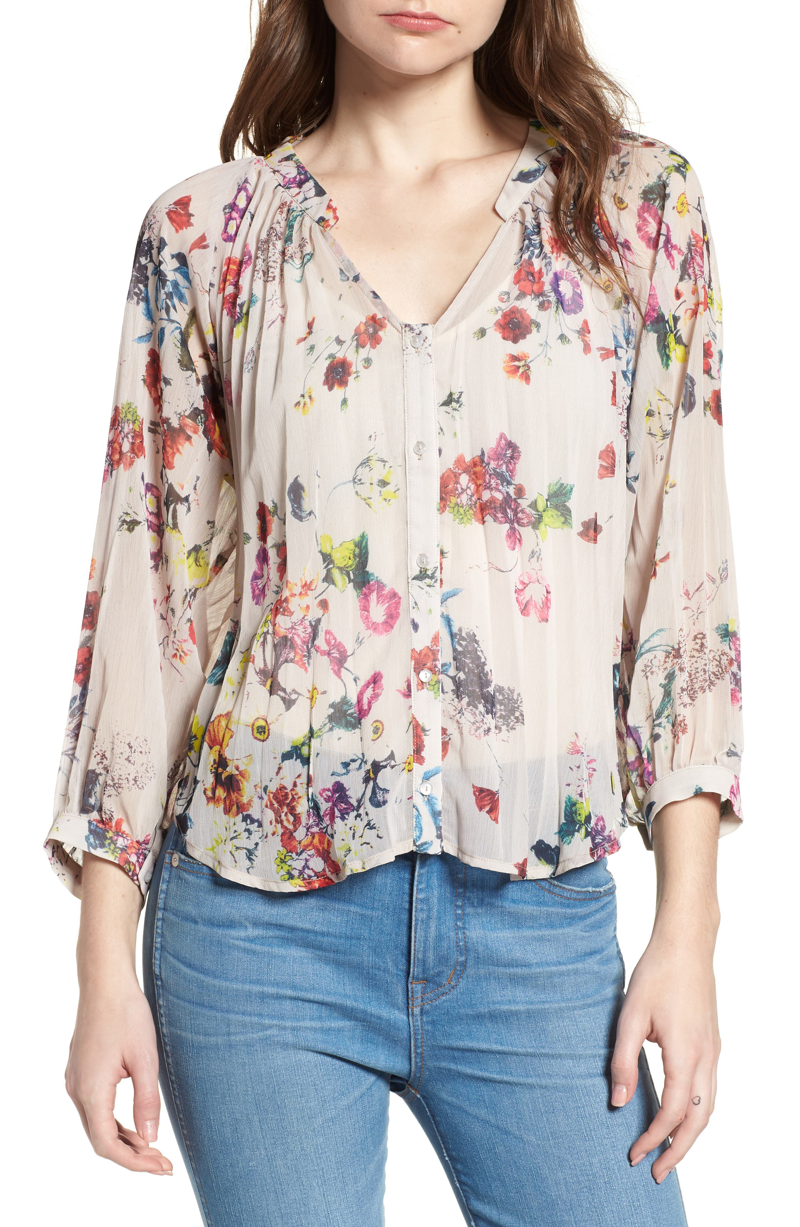 Bishop + Young Floral Pleated Top,                             Main thumbnail 1, color,                             Romance Print