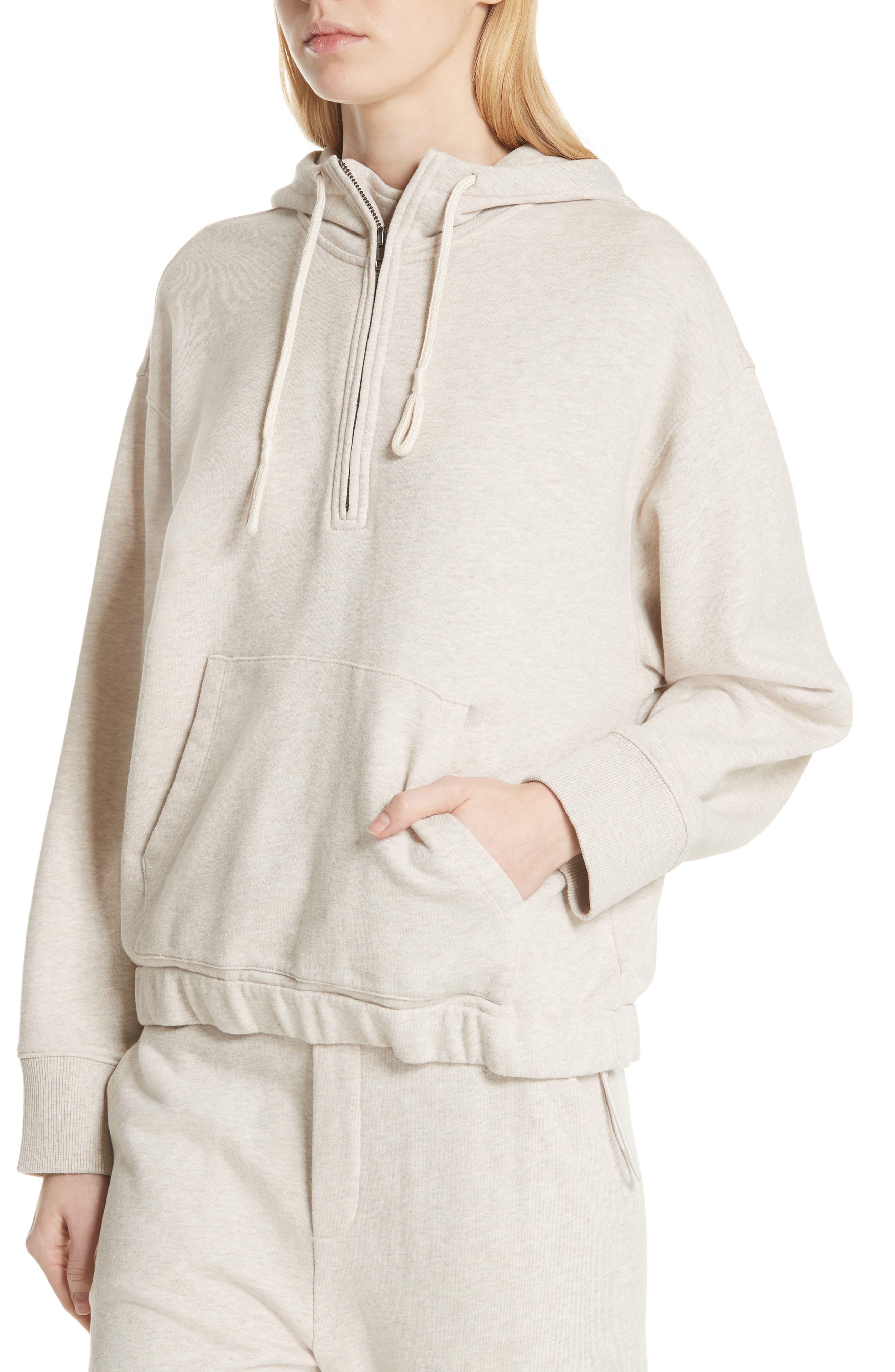 Half Zip Cotton Hoodie Sweatshirt,                             Alternate thumbnail 4, color,                             H Burlap