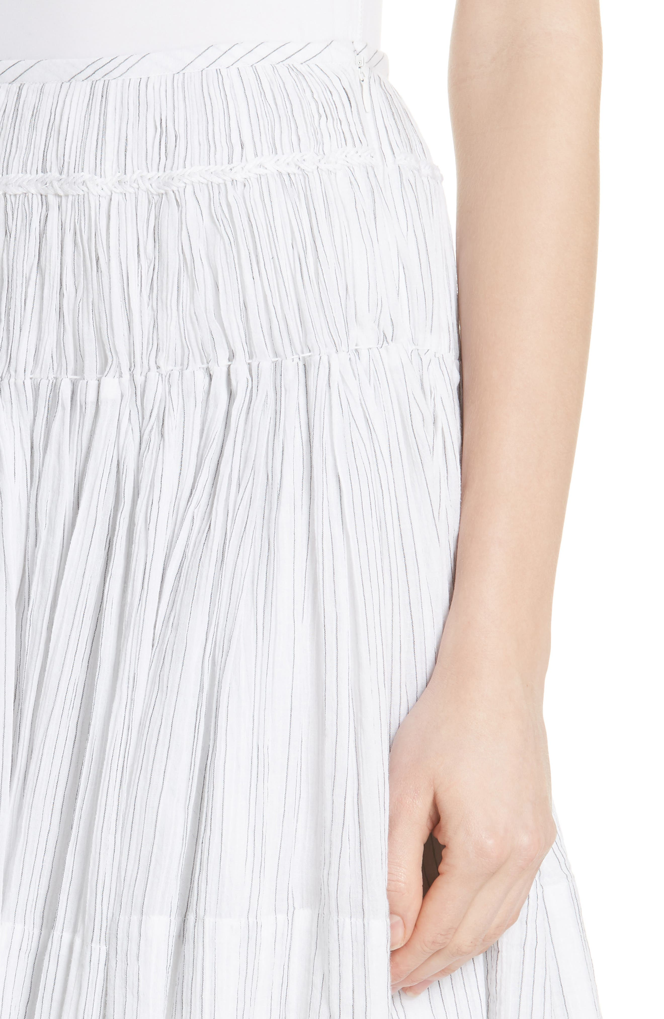 Variegated Stripe Pleat Skirt,                             Alternate thumbnail 4, color,                             Optic White/ Black