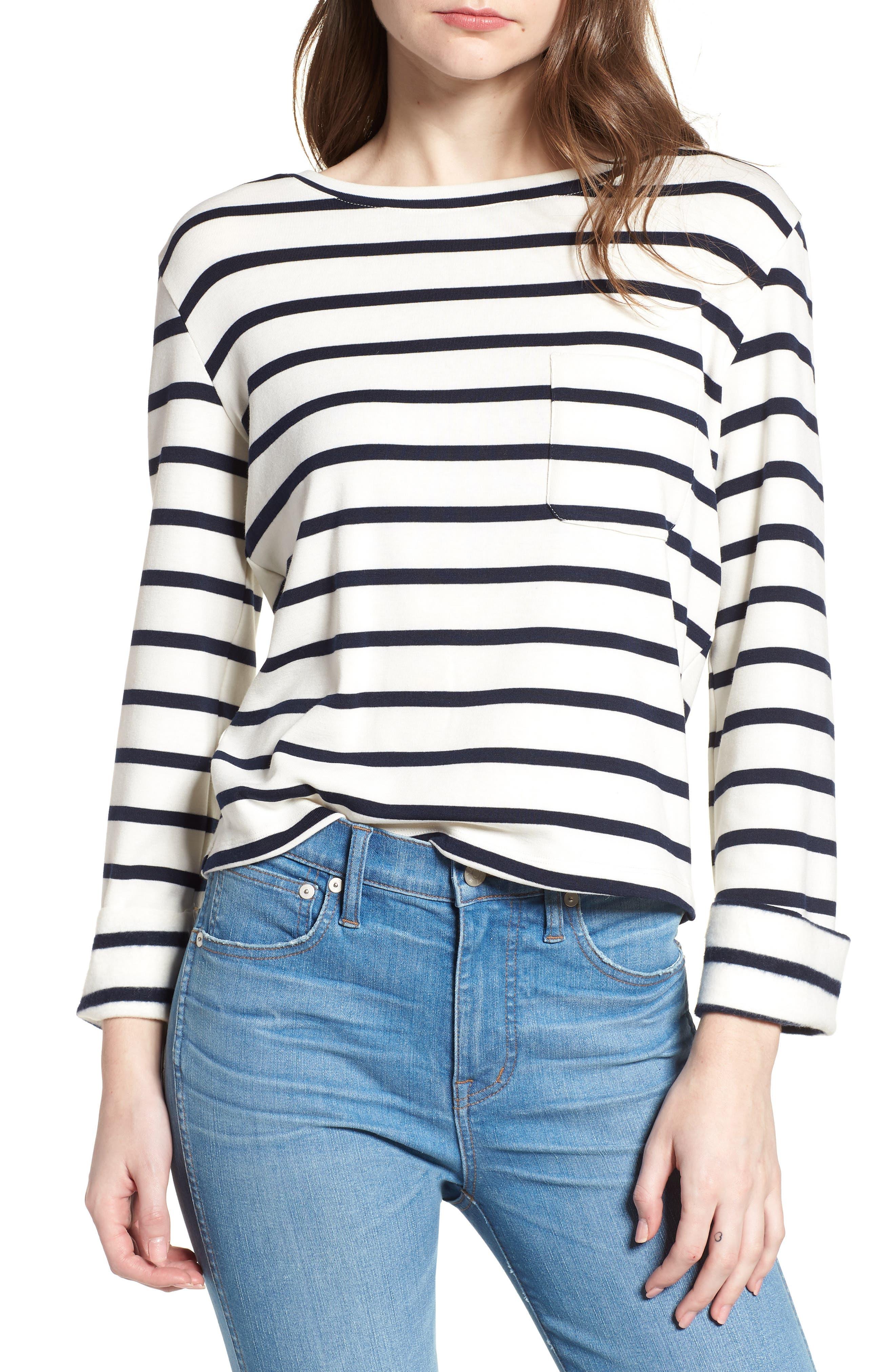 Bishop + Young Stripe Lace-Up Back Top,                         Main,                         color, Black Stripe