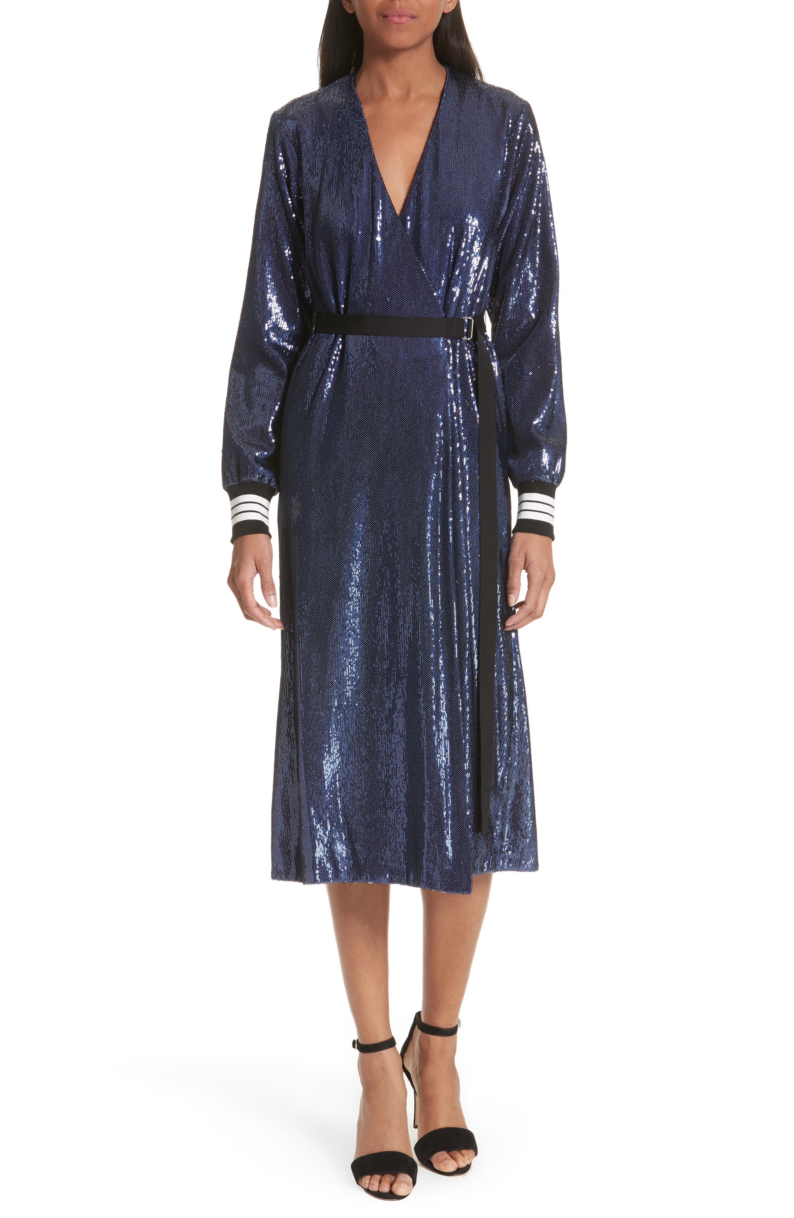 Sequin Wrap Dress,                         Main,                         color, Blue