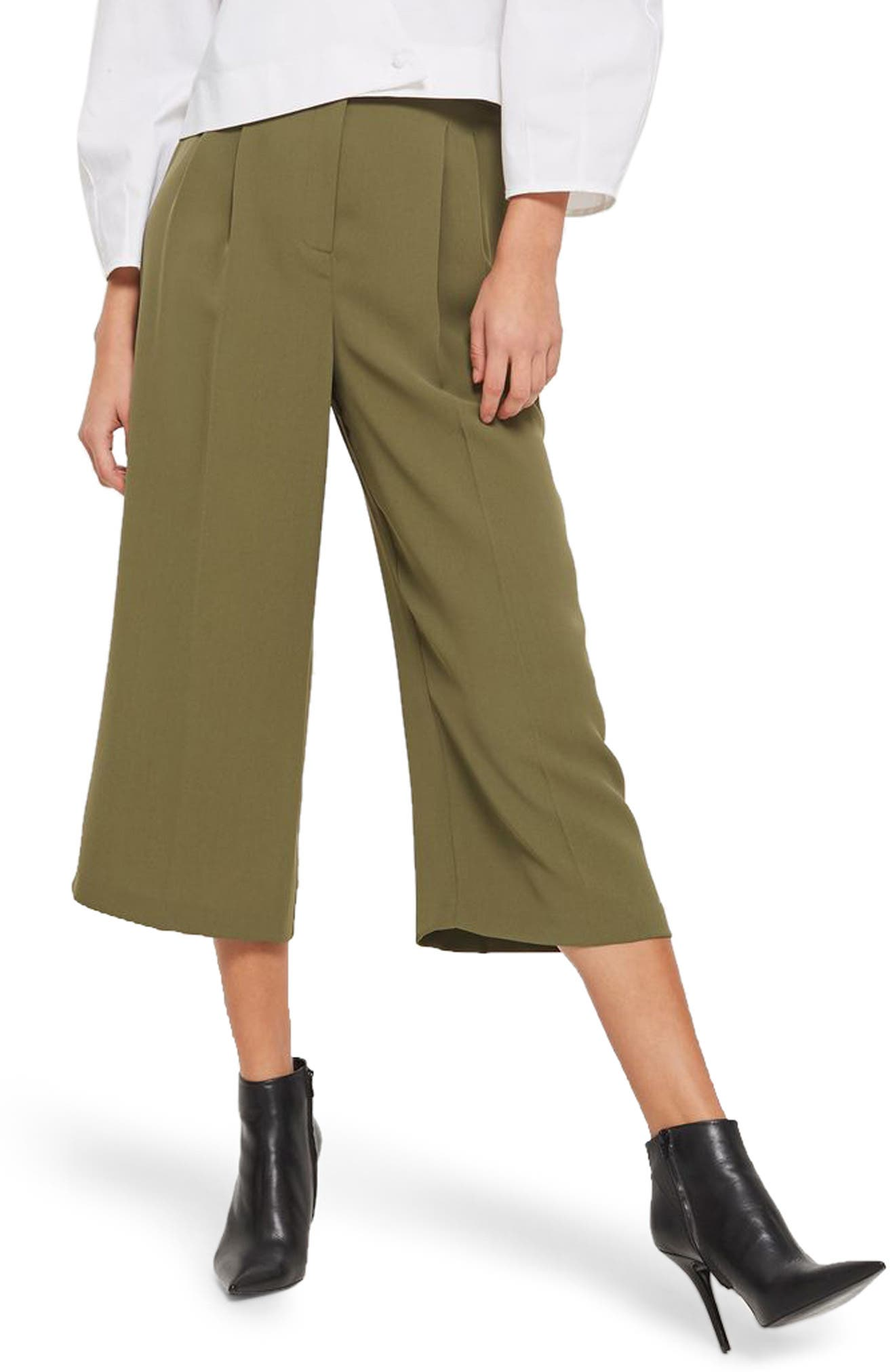 Wide Crop Utility Trousers,                         Main,                         color, Olive