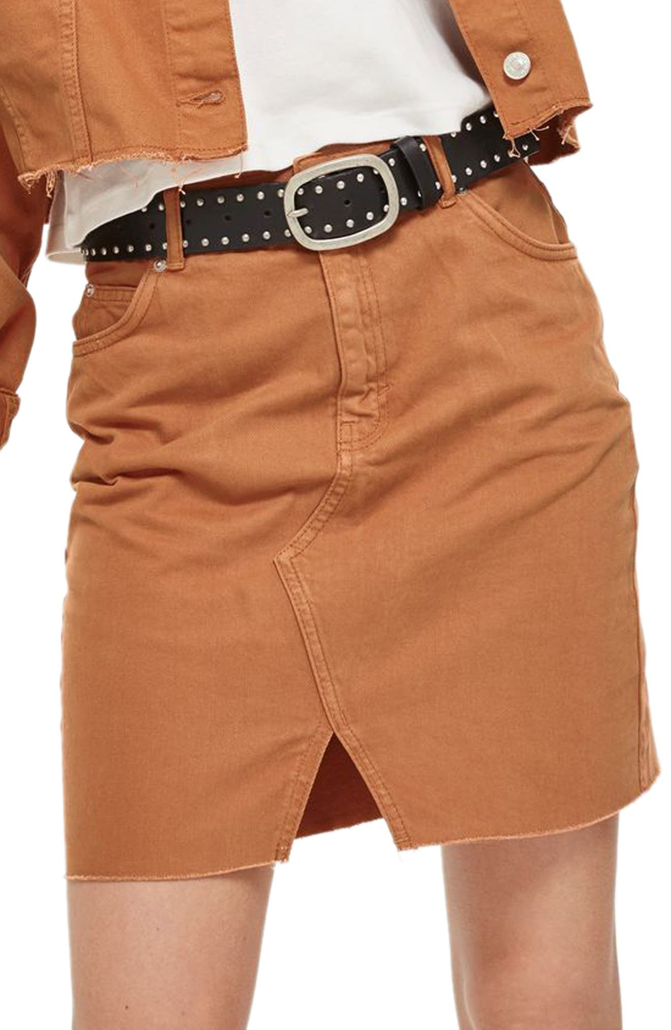 Mini Denim Skirt,                             Main thumbnail 1, color,                             Rust