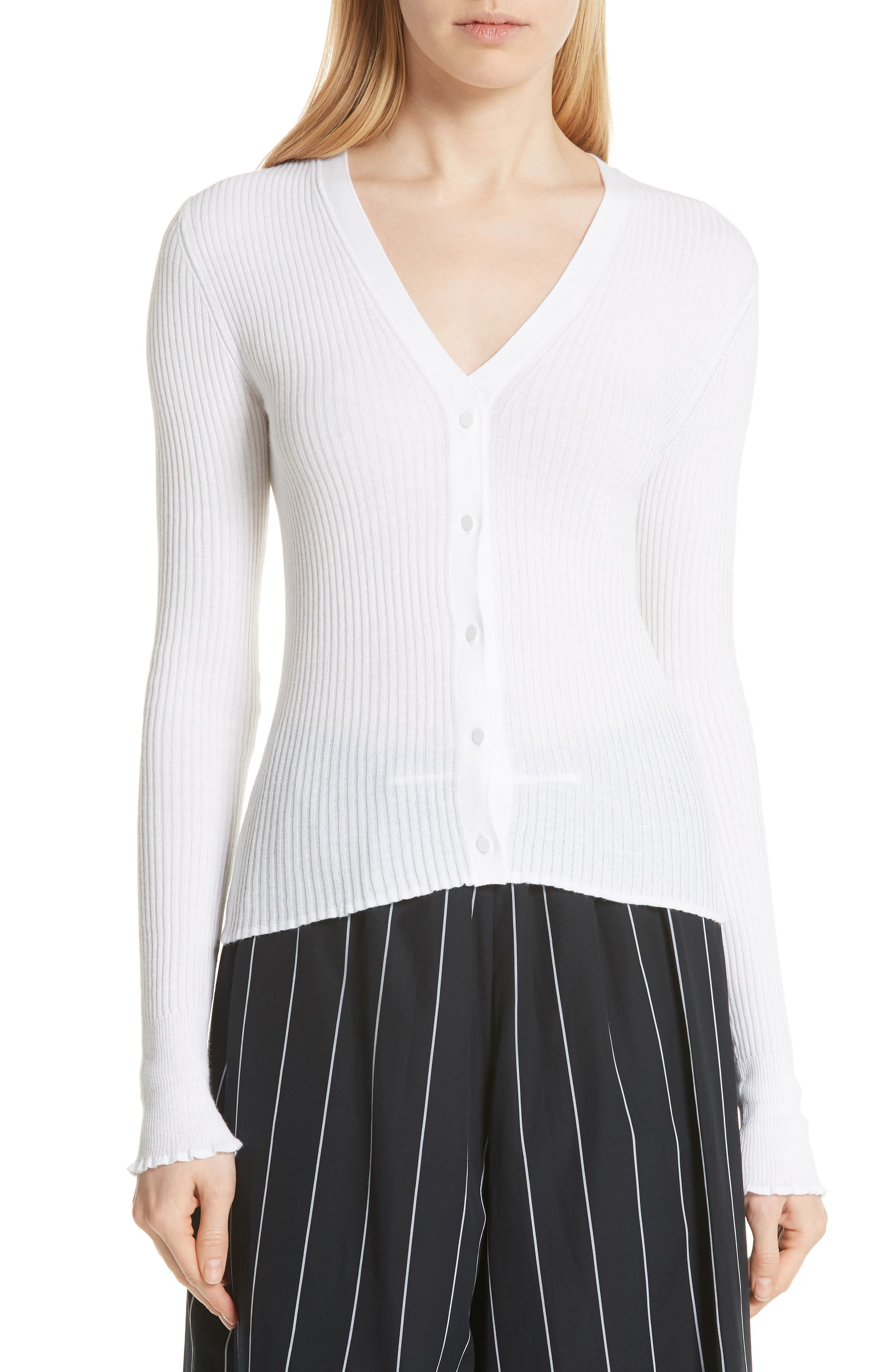Vince Ribbed Lettuce Cuff Cotton Cardigan