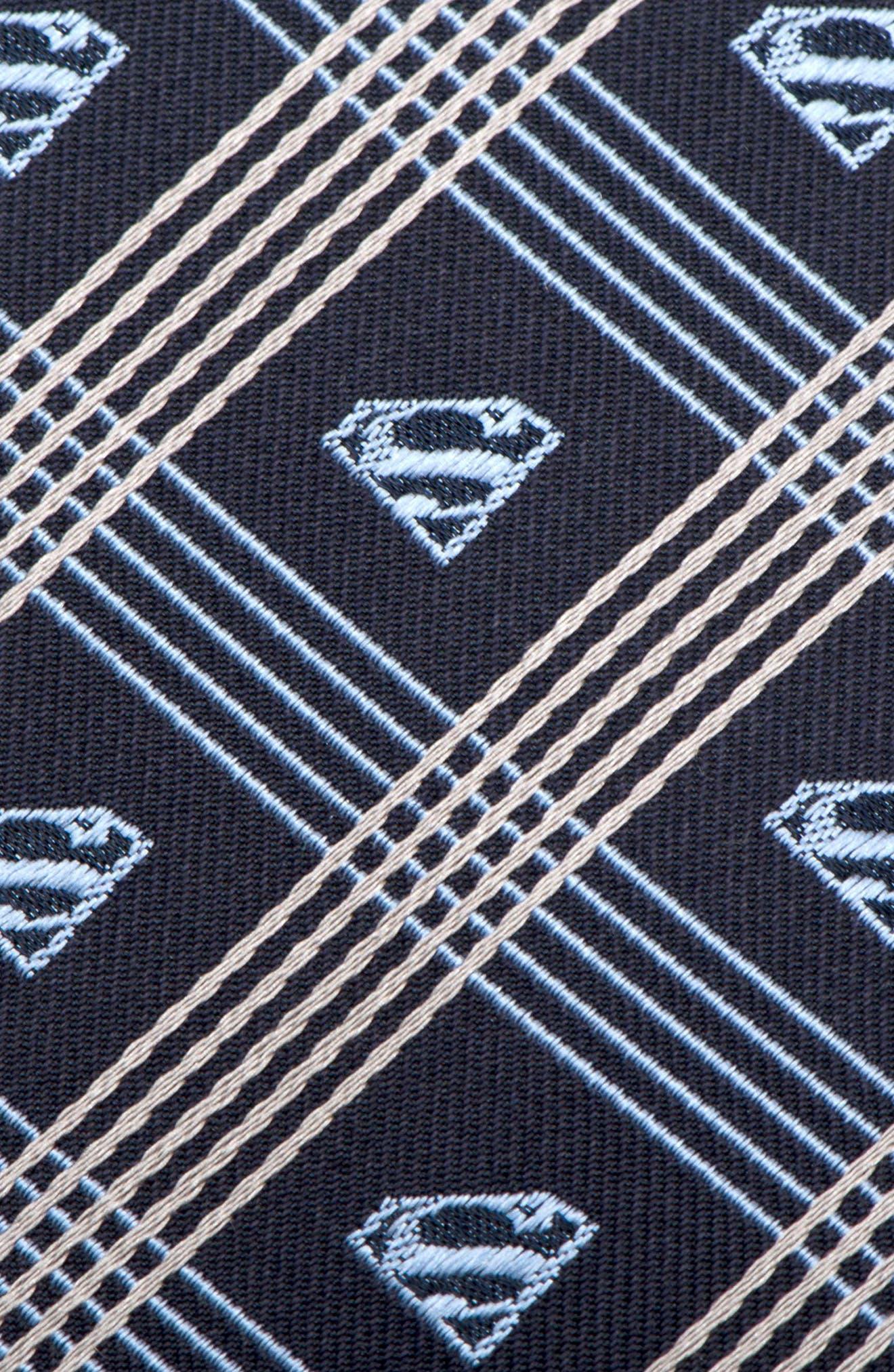 Superman Shield Silk Tie,                             Alternate thumbnail 3, color,                             Grey/ Navy