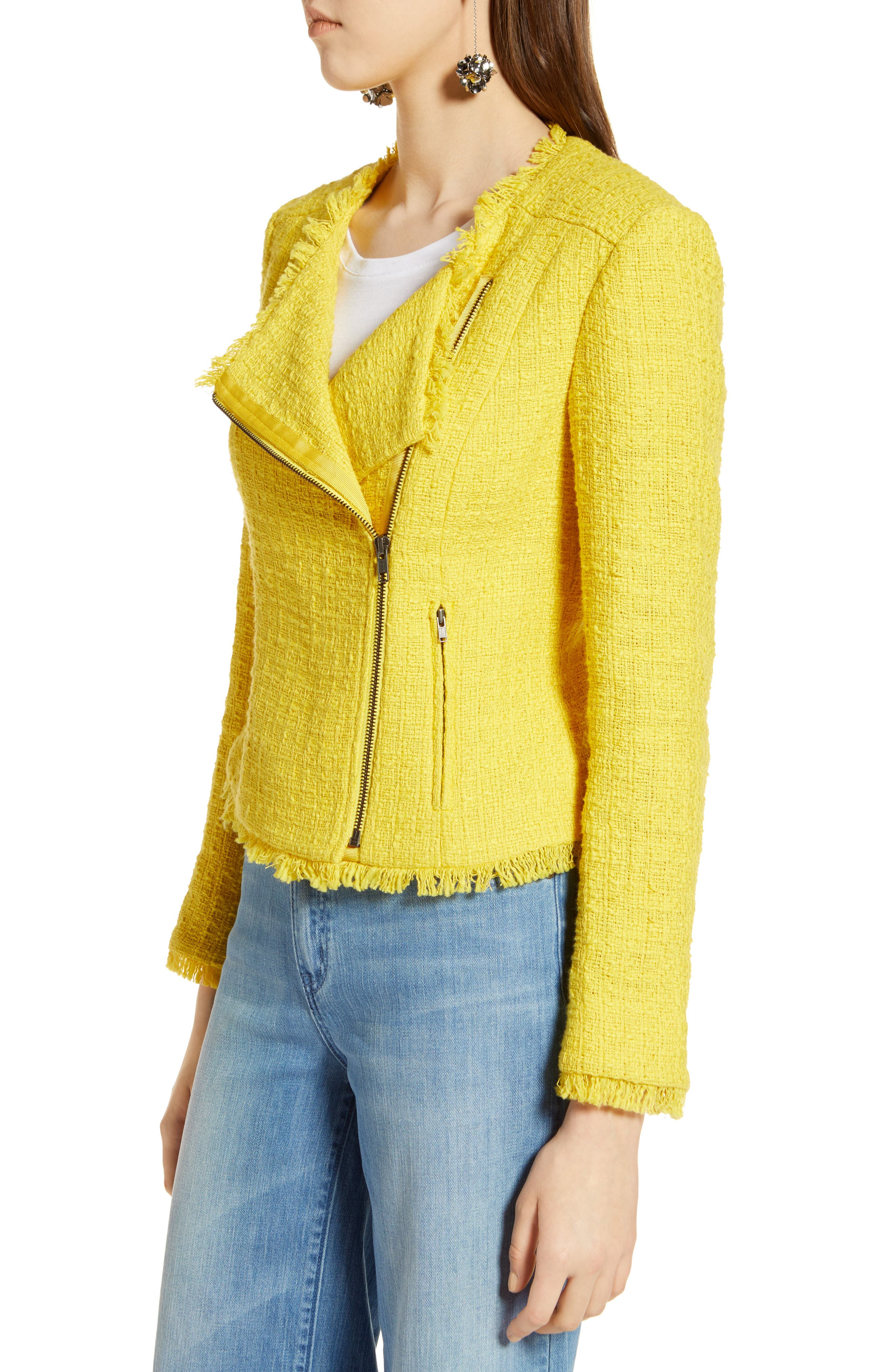 Tweed Moto Jacket,                             Alternate thumbnail 3, color,                             Yellow Maize