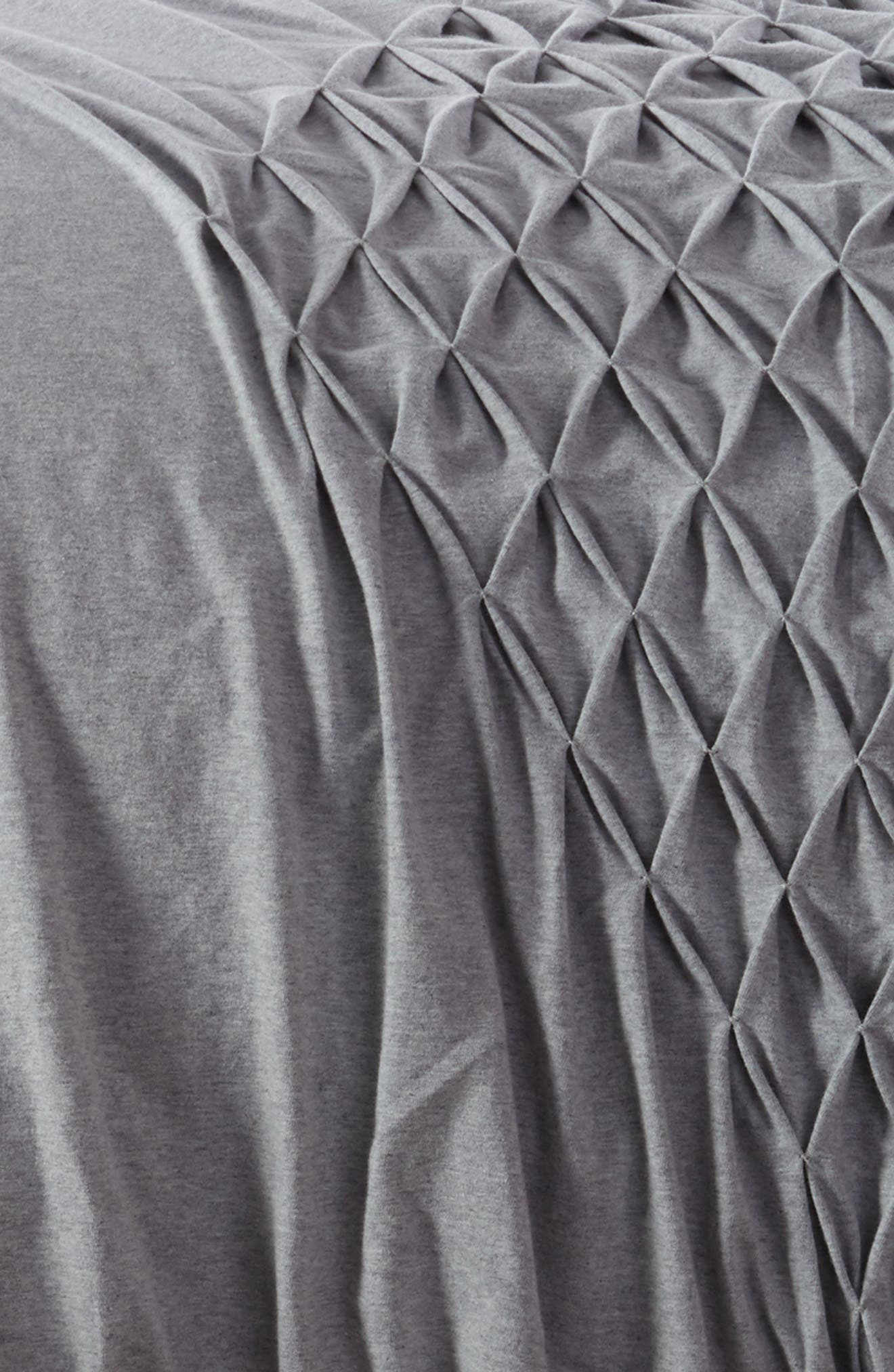 Diamond Smocked Duvet Cover,                             Alternate thumbnail 2, color,                             Grey Heather