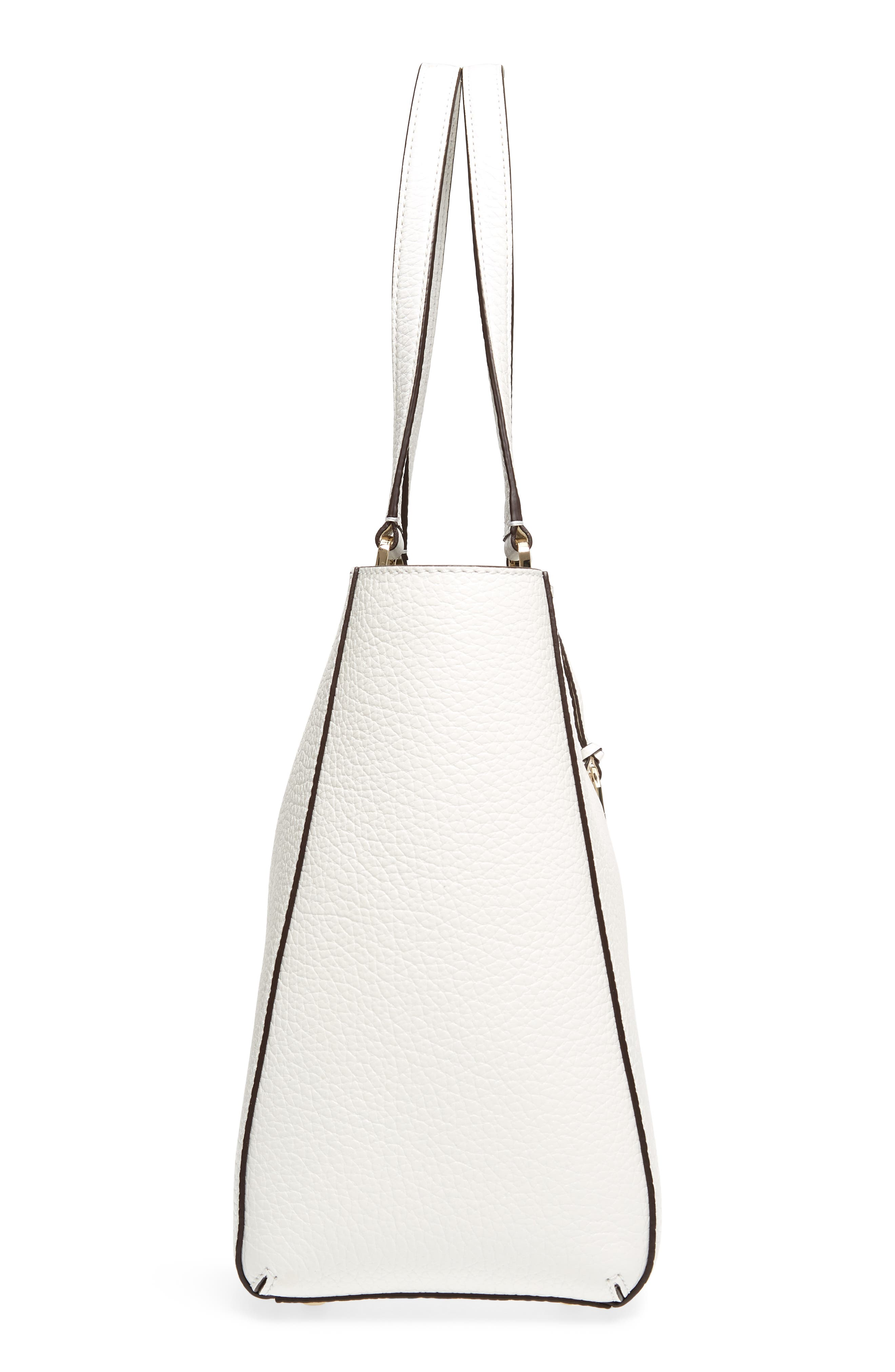 carter street - tyler leather tote,                             Alternate thumbnail 5, color,                             Bright White