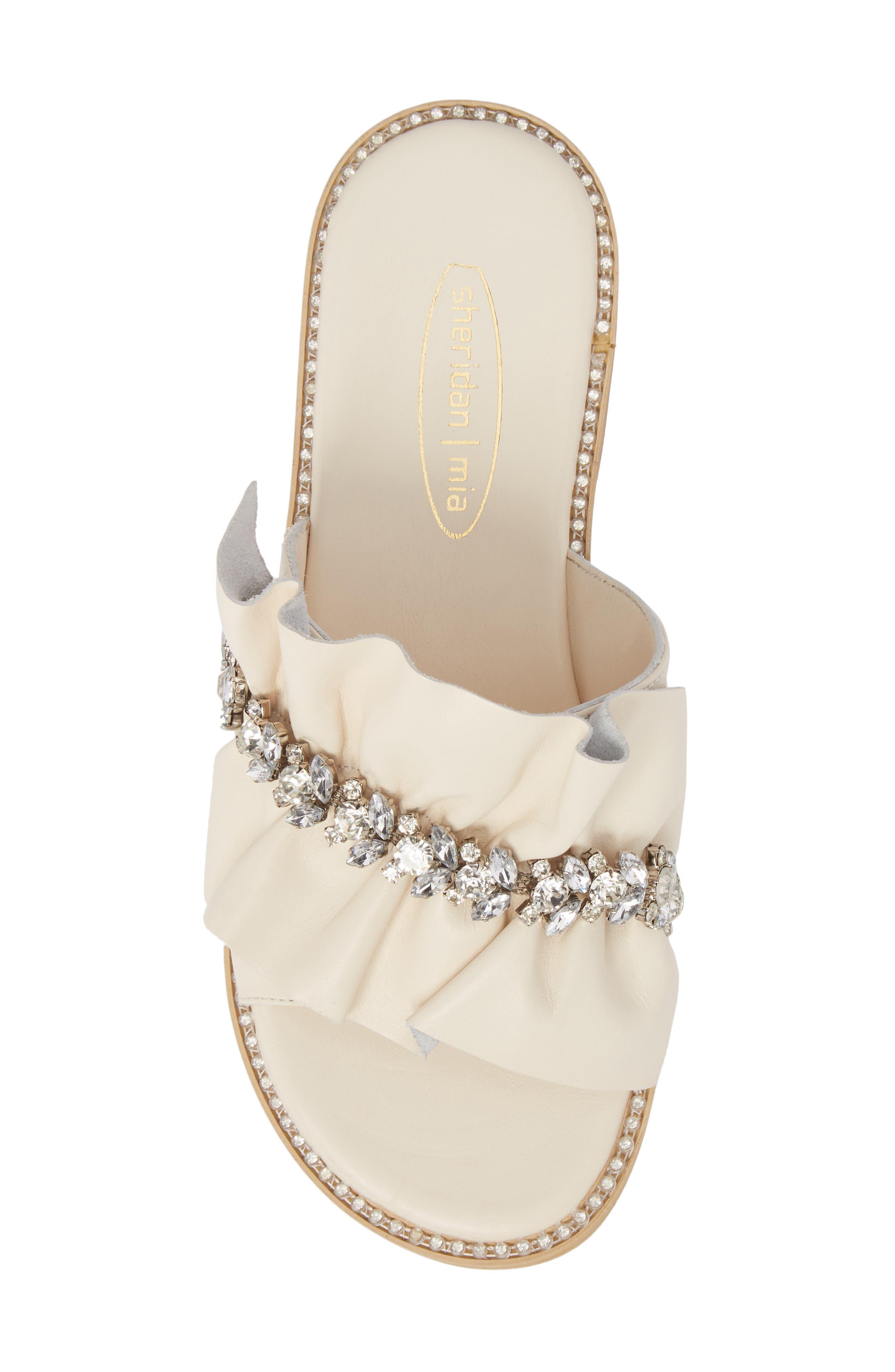 Tiana Crystal Slide Sandal,                             Alternate thumbnail 5, color,                             Cream Leather